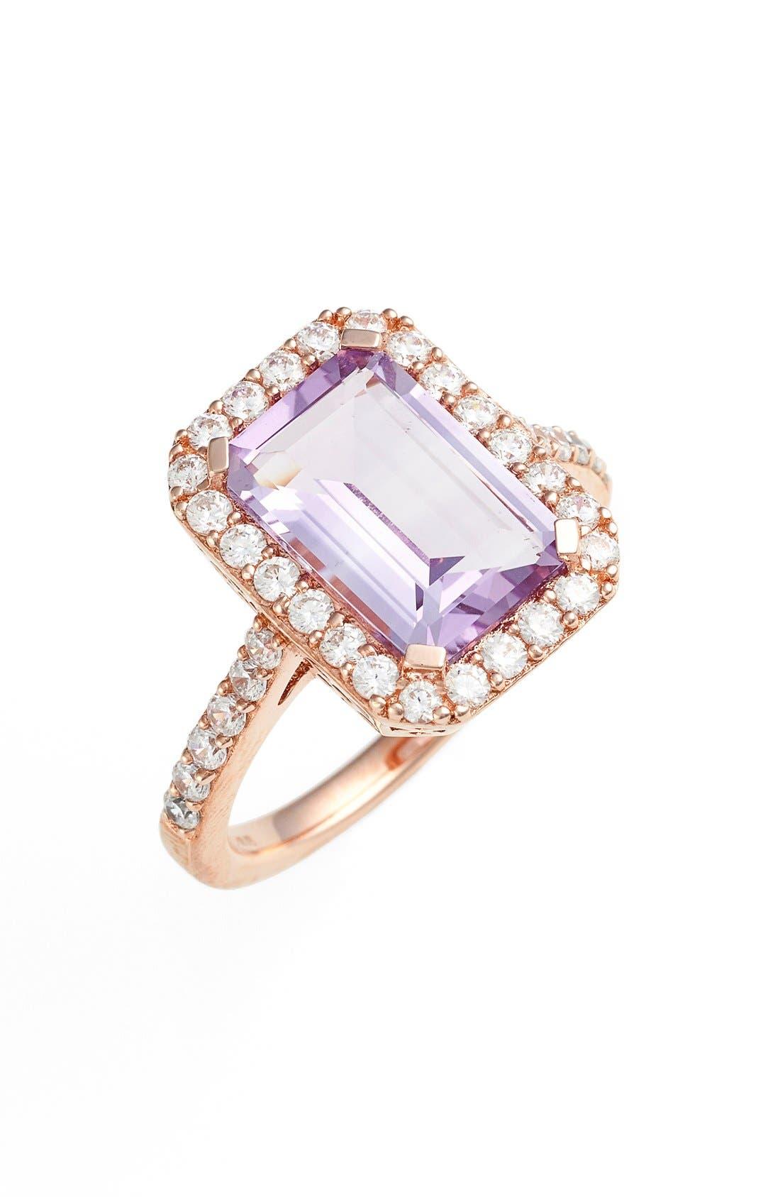 'Aria' Emerald Cut Ring,                             Main thumbnail 1, color,                             Rose Gold/ Amethyst
