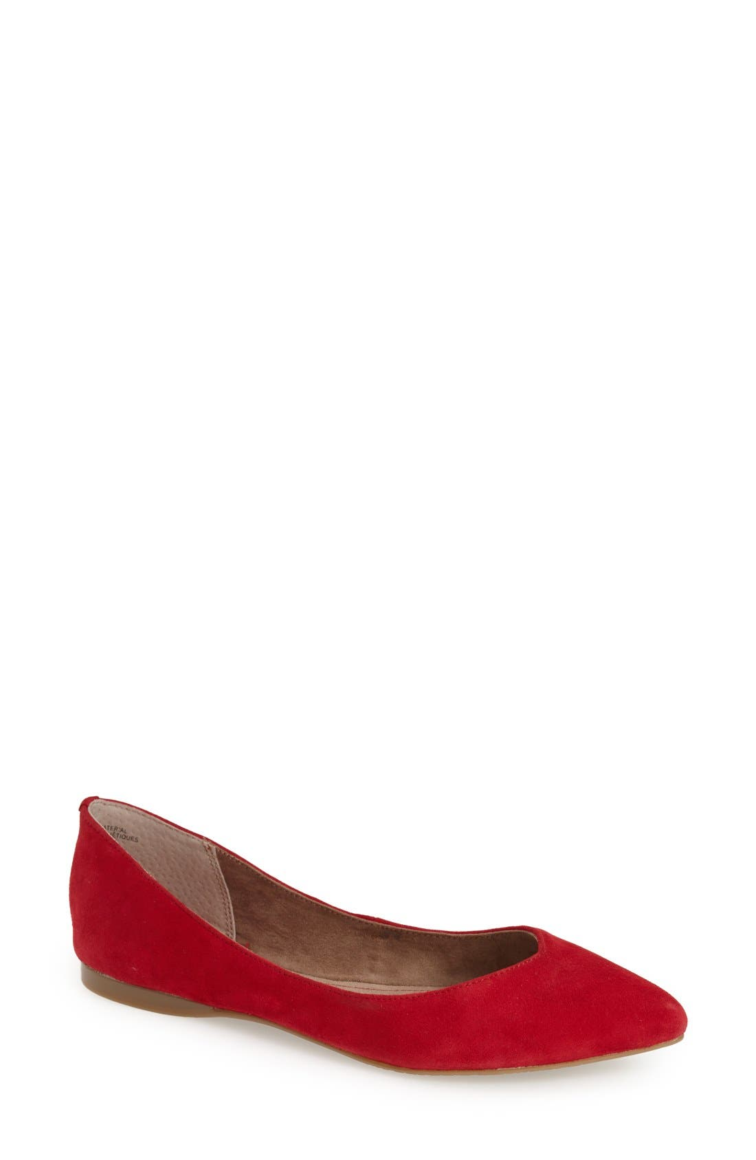 'Moveover' Pointy Toe Leather Flat,                             Main thumbnail 1, color,                             Red Suede