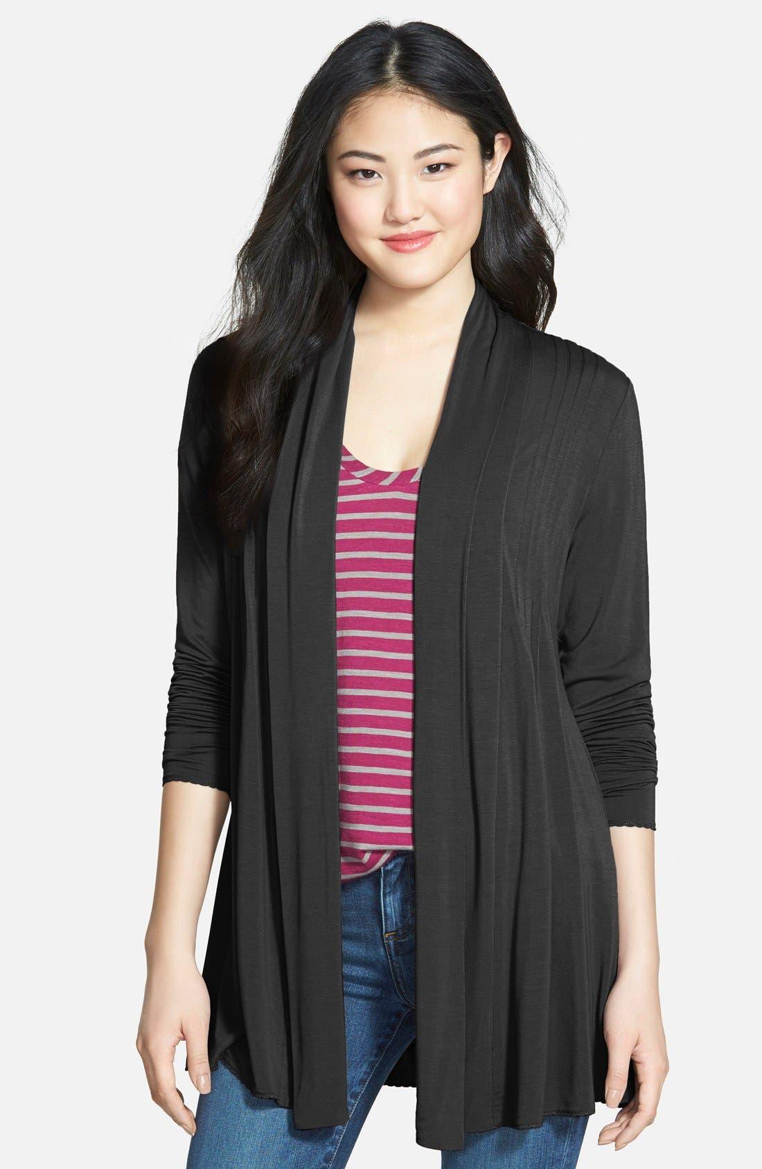 Open Pleat Front Cardigan,                         Main,                         color, Black