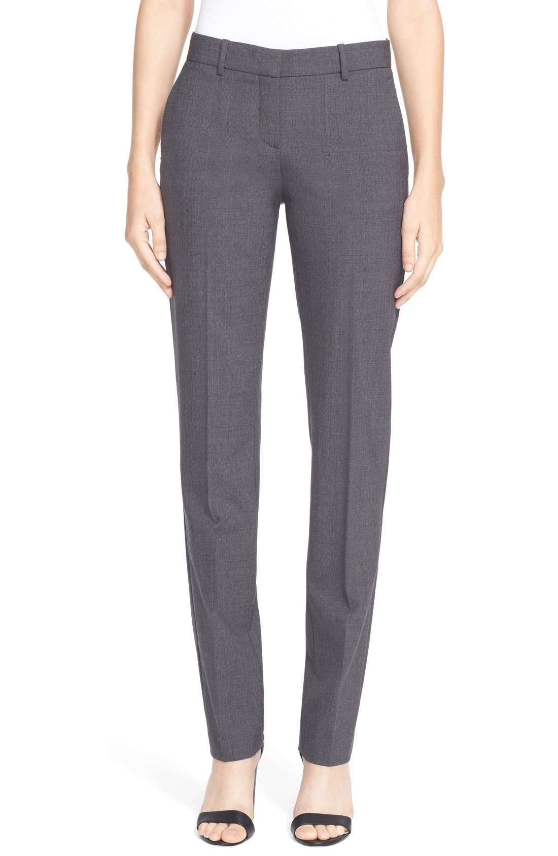 'Super Slim Edition' Stretch Wool Pants,                         Main,                         color, Charcoal