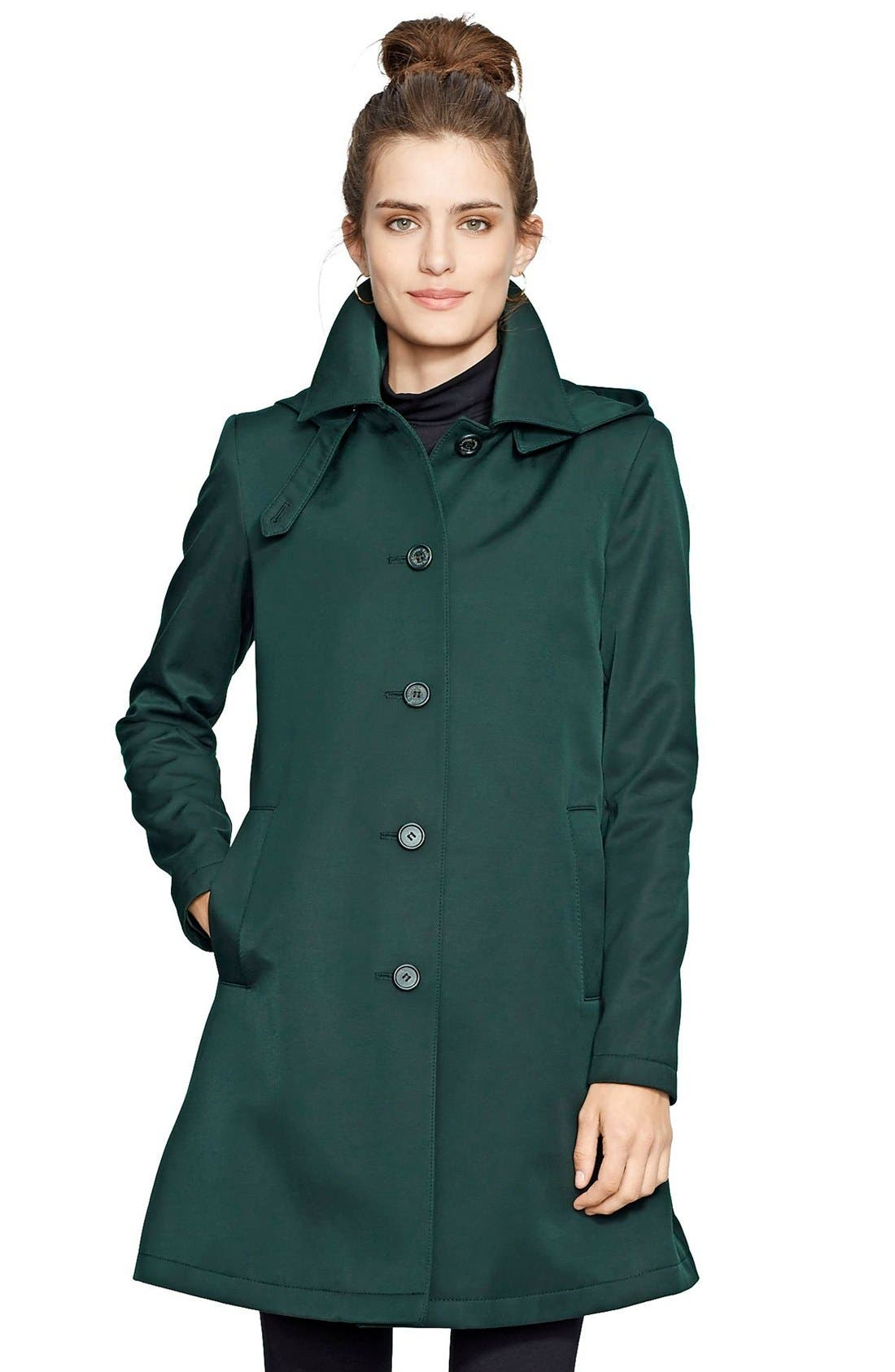 Alternate Image 1 Selected - Lauren Ralph Lauren A-Line Raincoat (Regular & Petite) (Nordstrom Exclusive)