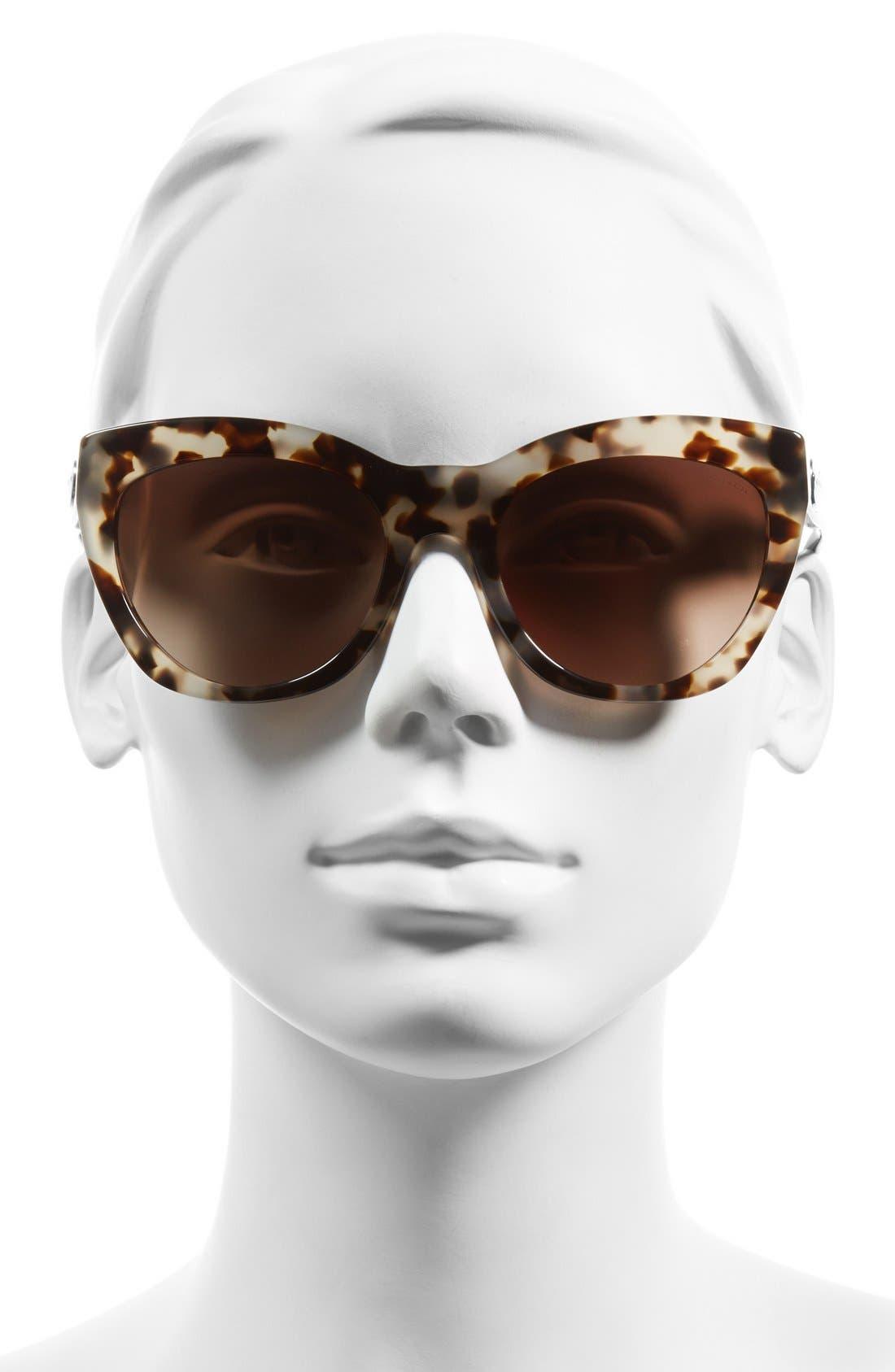 54mm Retro Sunglasses,                             Alternate thumbnail 2, color,                             Light Tortoise