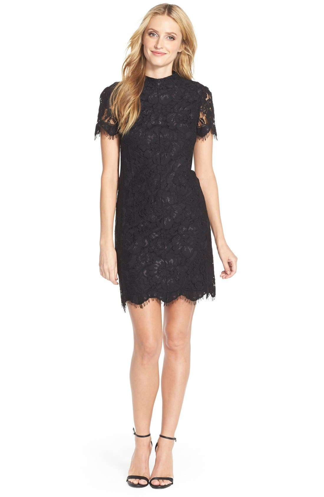 Alternate Image 3  - Betsey Johnson Mock Neck Lace Sheath Dress