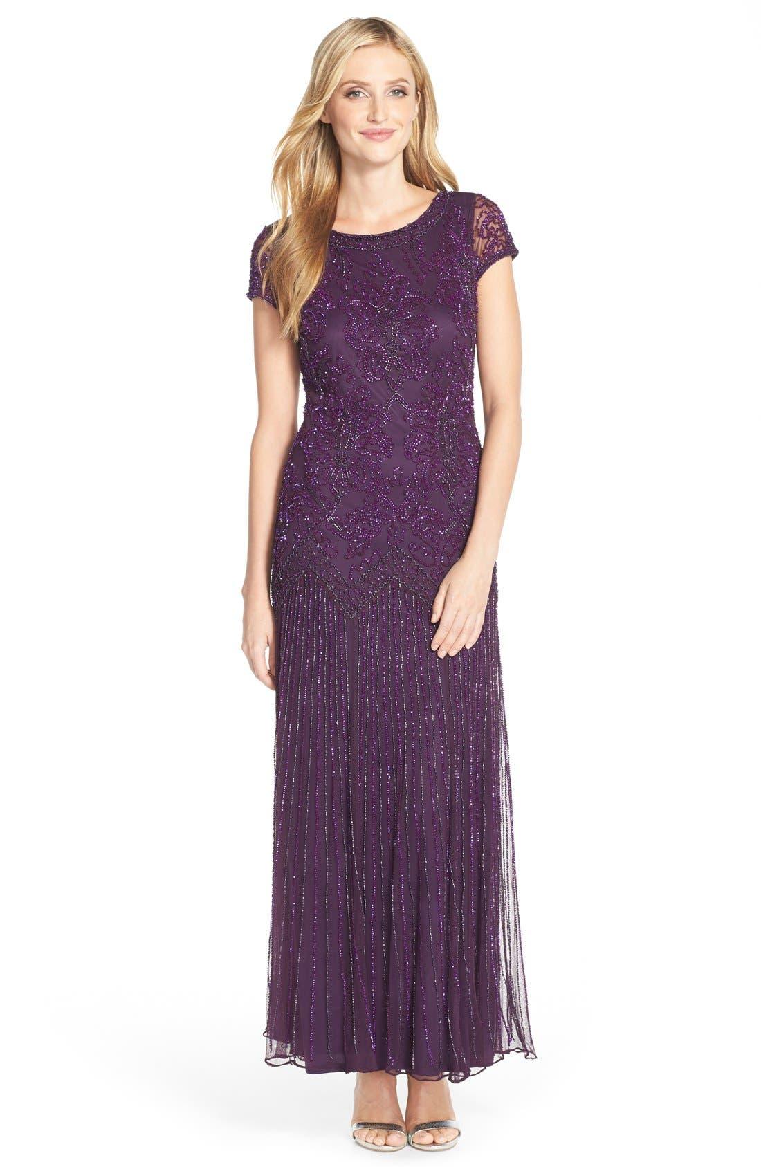 Main Image - Pisarro Nights Beaded Mesh A-Line Gown (Regular & Petite)