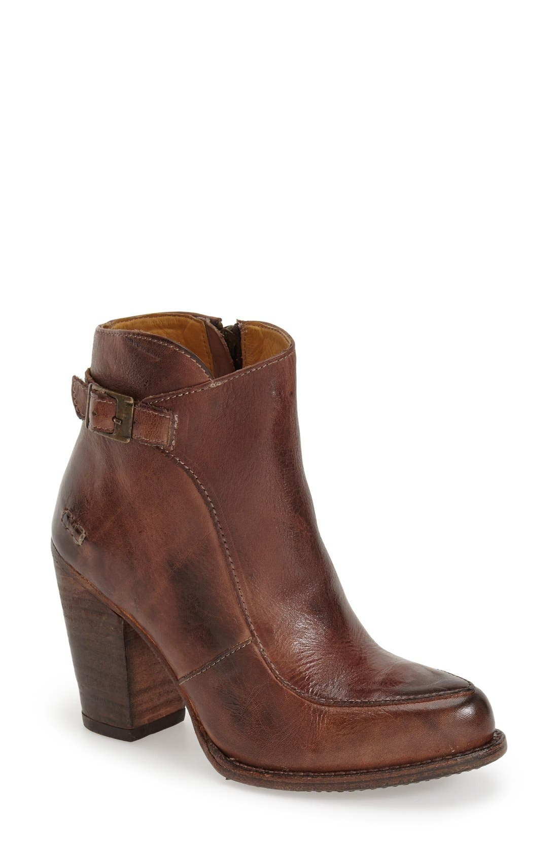 'Isla' Stacked Heel Boot,                             Main thumbnail 1, color,                             Teak Rustic Leather