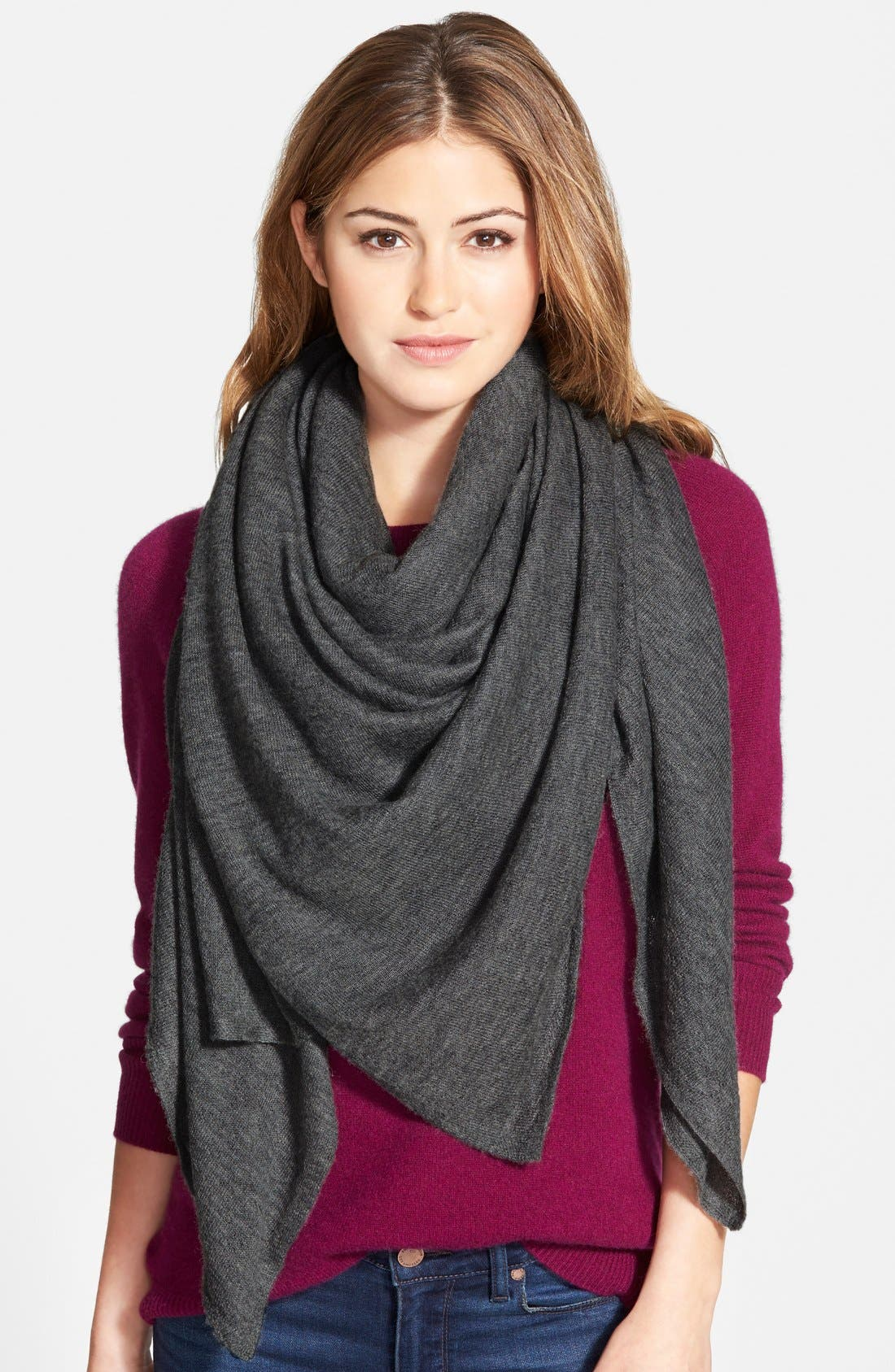 Oversize Cashmere Scarf,                             Main thumbnail 1, color,                             Heather Charcoal