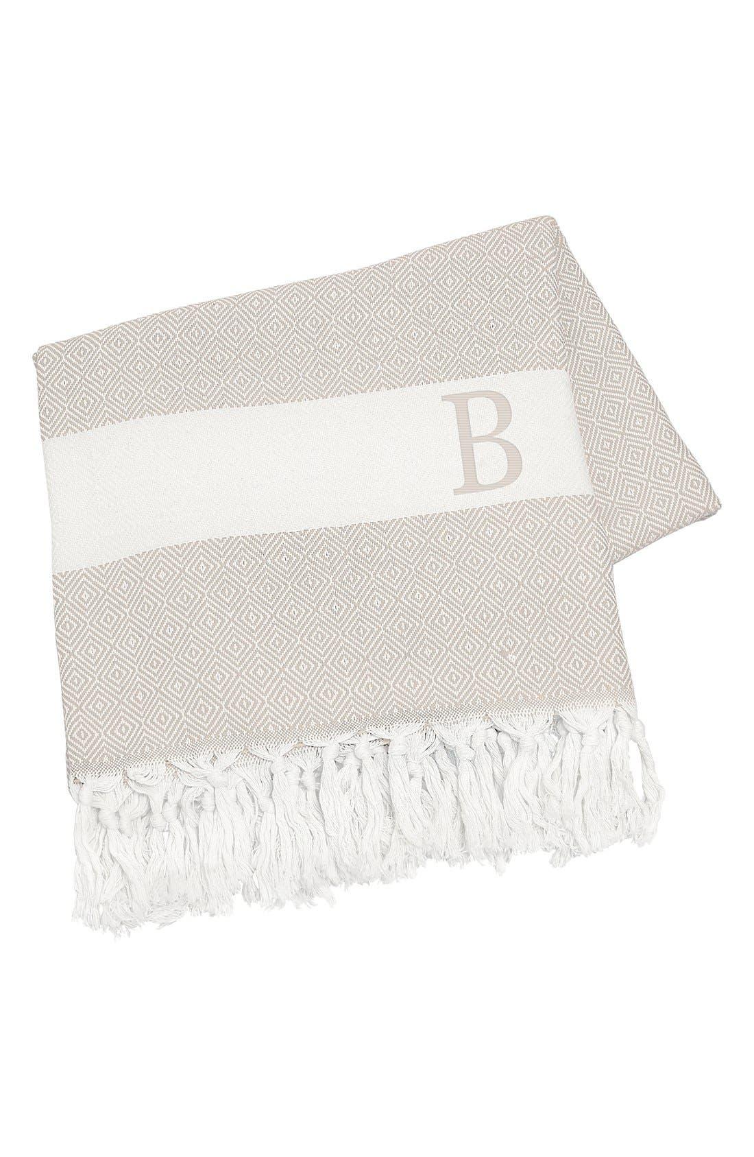 Monogram Turkish Cotton Throw,                         Main,                         color, Beige - B