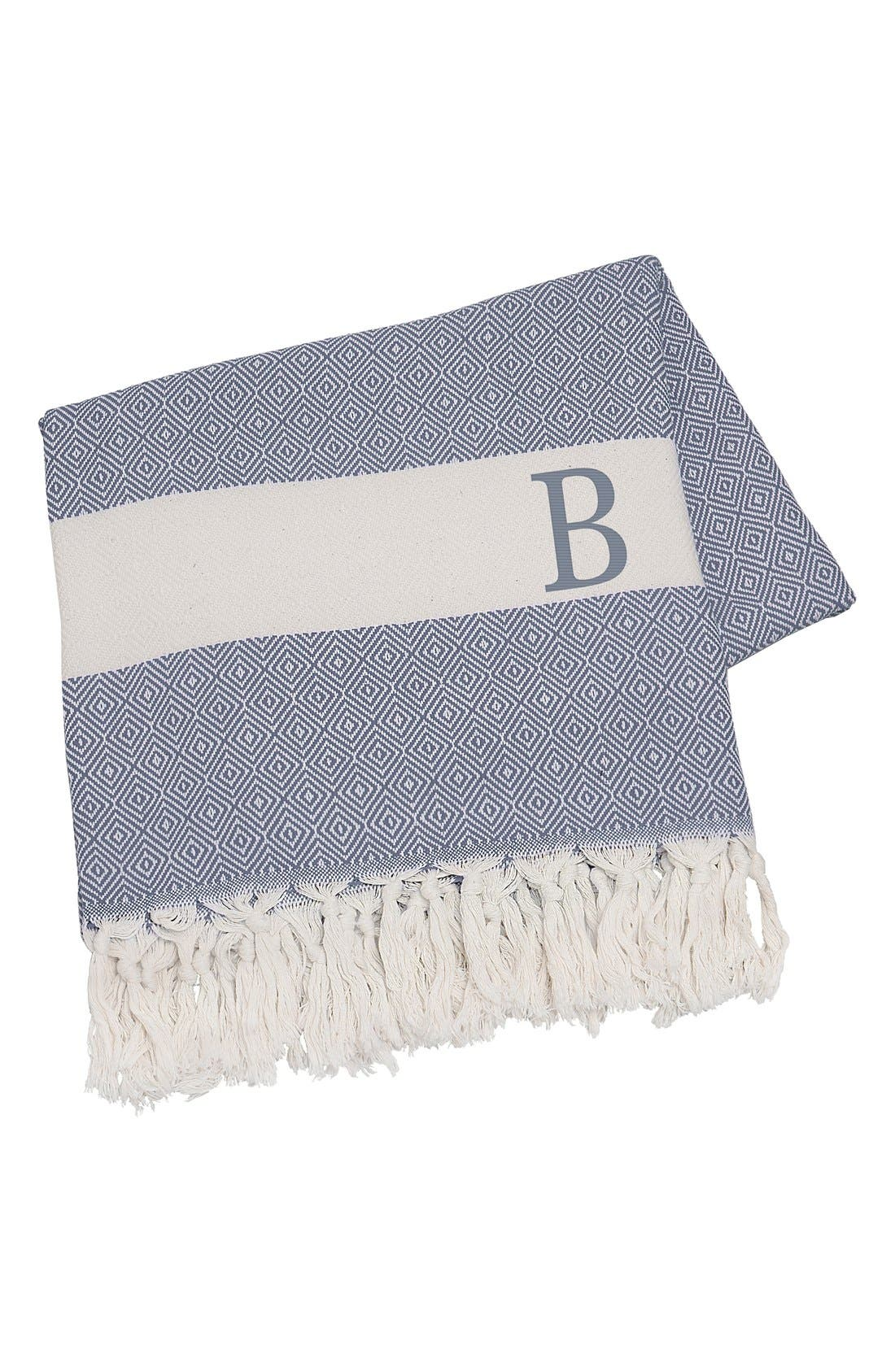Monogram Turkish Cotton Throw,                             Main thumbnail 1, color,                             Blue - B
