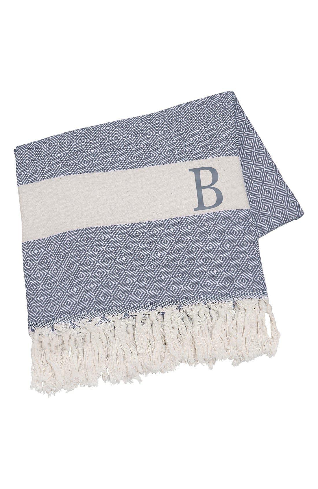 Monogram Turkish Cotton Throw,                         Main,                         color, Blue - B