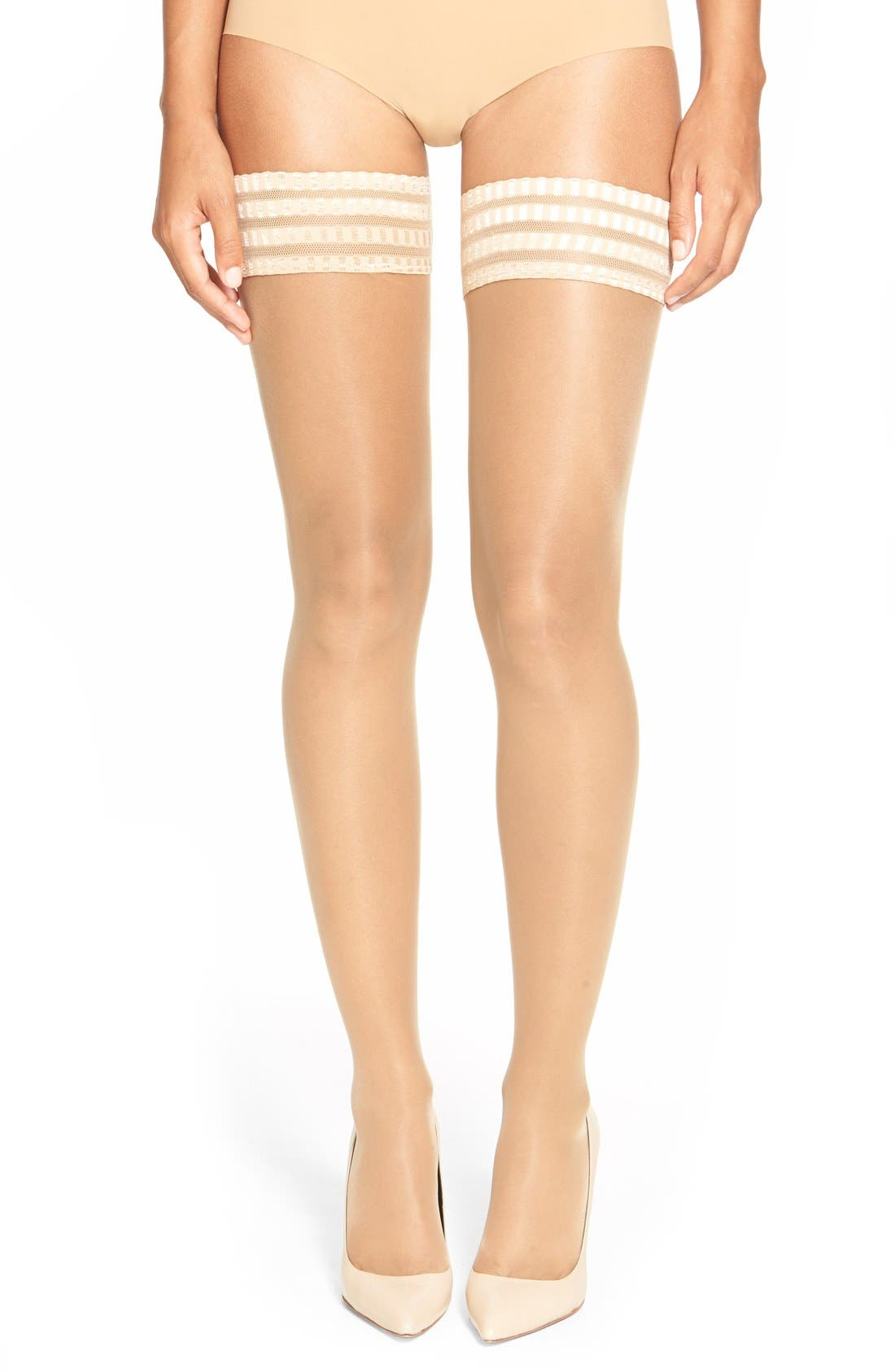 'Pure Matt 20' Stay-Up Stockings,                         Main,                         color, Golden