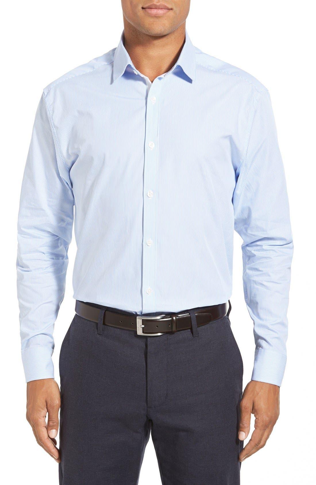 Alternate Image 2  - Calibrate Extra Trim Fit Non-Iron Microcheck Dress Shirt