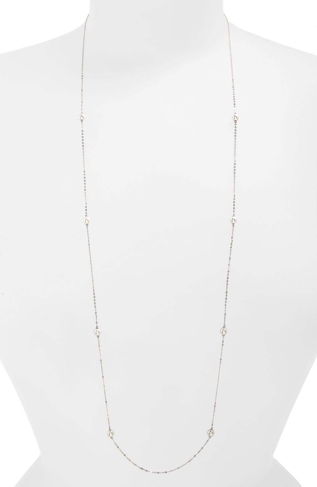 Long Faux Pearl Station Necklace,                         Main,                         color, Silver