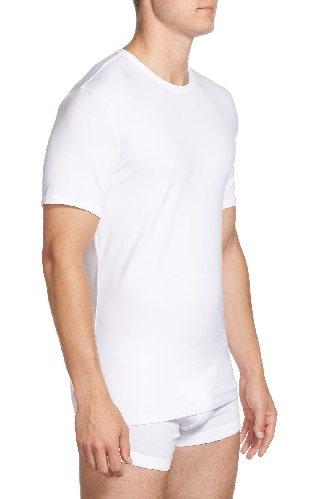 2-Pack Stretch Cotton Crewneck T-Shirt,                             Alternate thumbnail 3, color,                             White