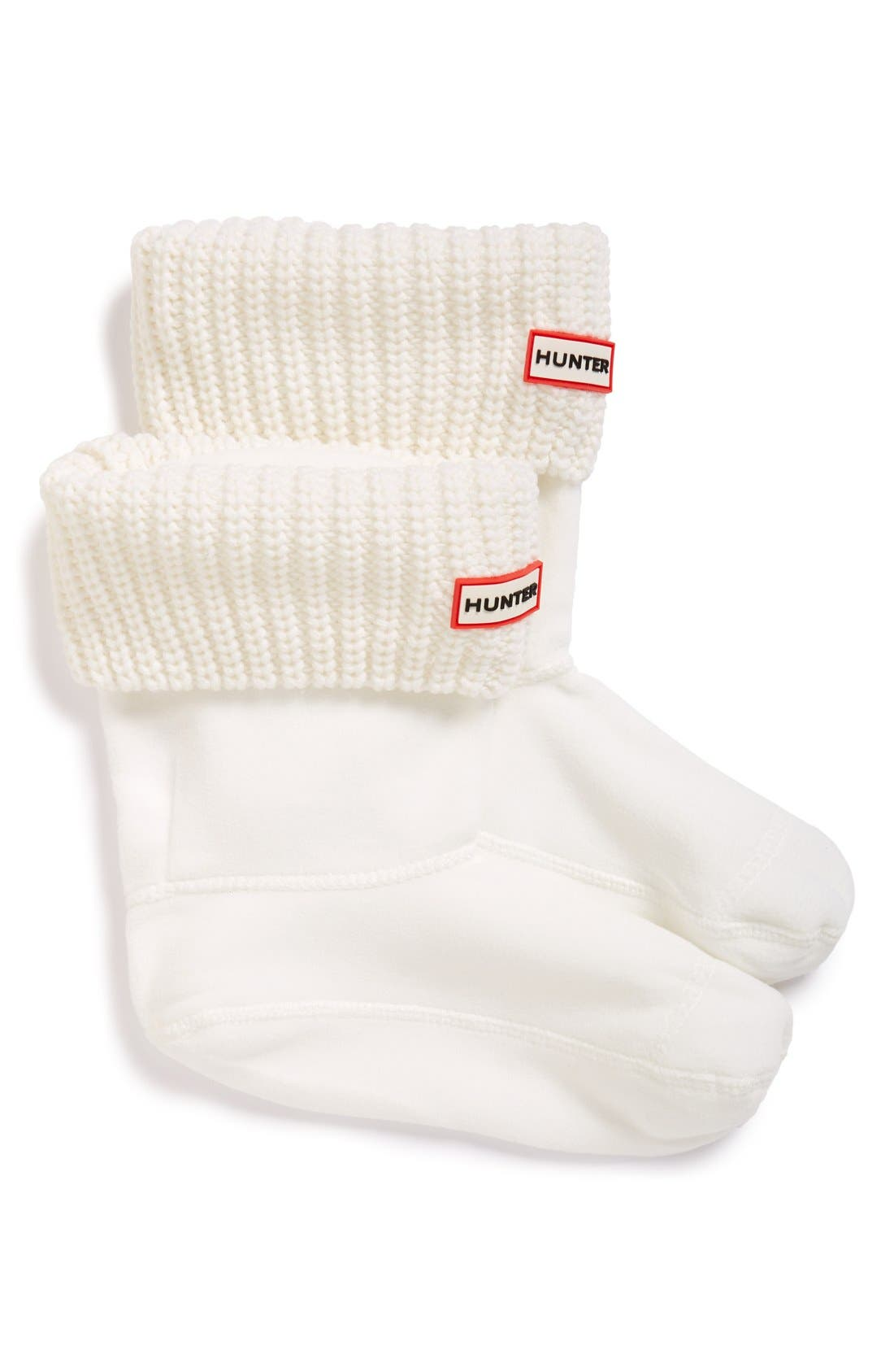 'Half Cardigan' Fleece Boot Socks,                             Main thumbnail 1, color,                             White
