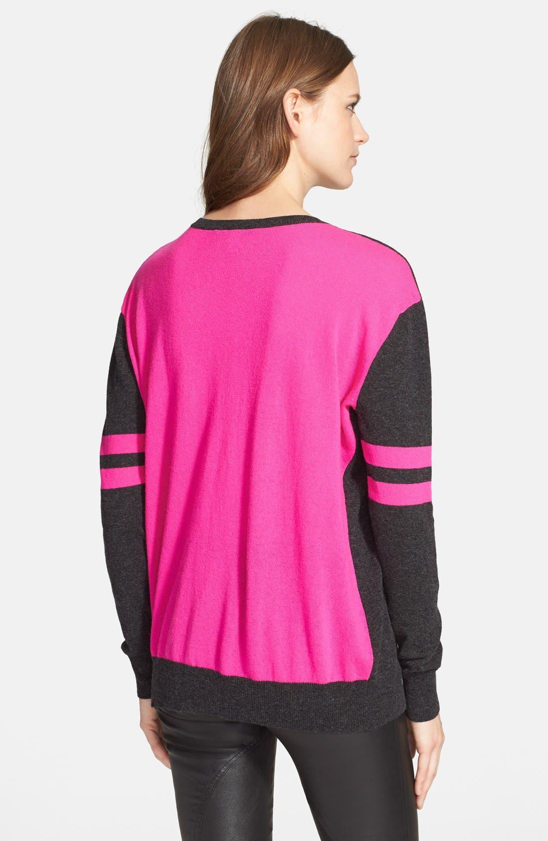 ColorblockCashmere Boyfriend Sweater,                             Alternate thumbnail 2, color,                             Pepper/ Pink Combo