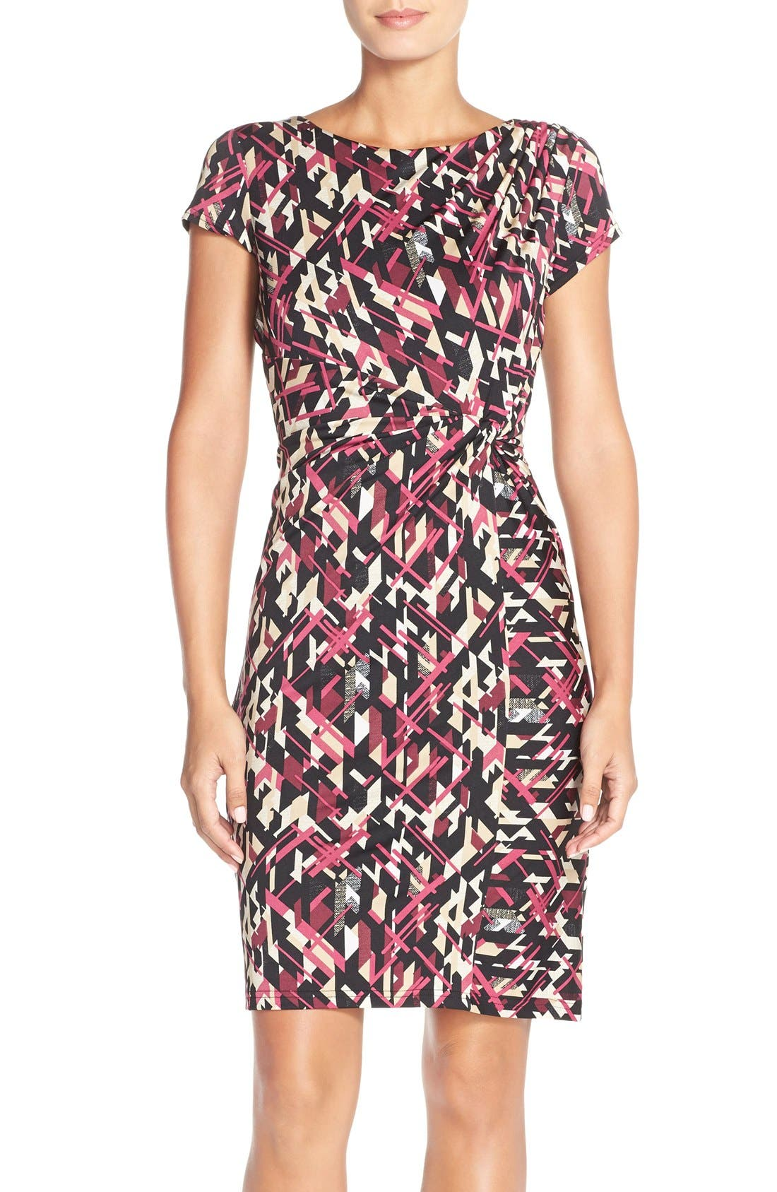 Main Image - Ellen Tracy Print Jersey Faux Wrap Sheath Dress (Regular & Petite)