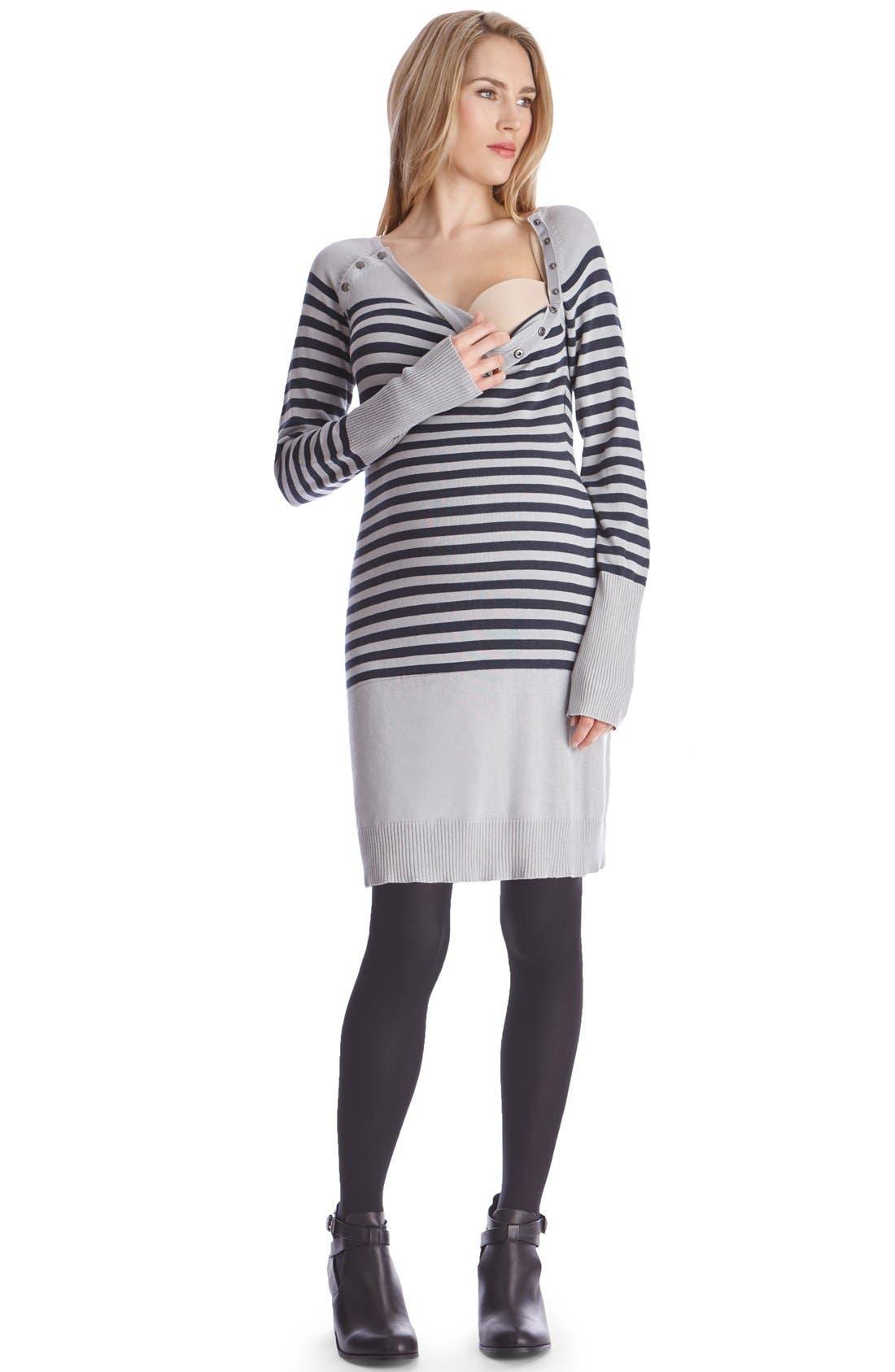 Alternate Image 3  - Seraphine'Rozalia' Stripe Maternity/Nursing Sweater Dress