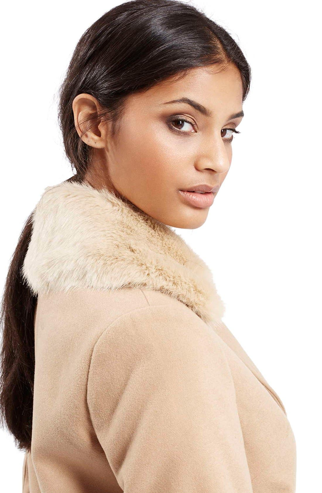 'Mia' Faux Fur Collar Slim Fit Coat,                             Alternate thumbnail 5, color,                             Camel