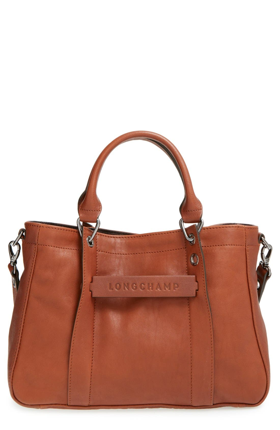 'Small3D' Leather Tote,                             Main thumbnail 1, color,                             Cognac