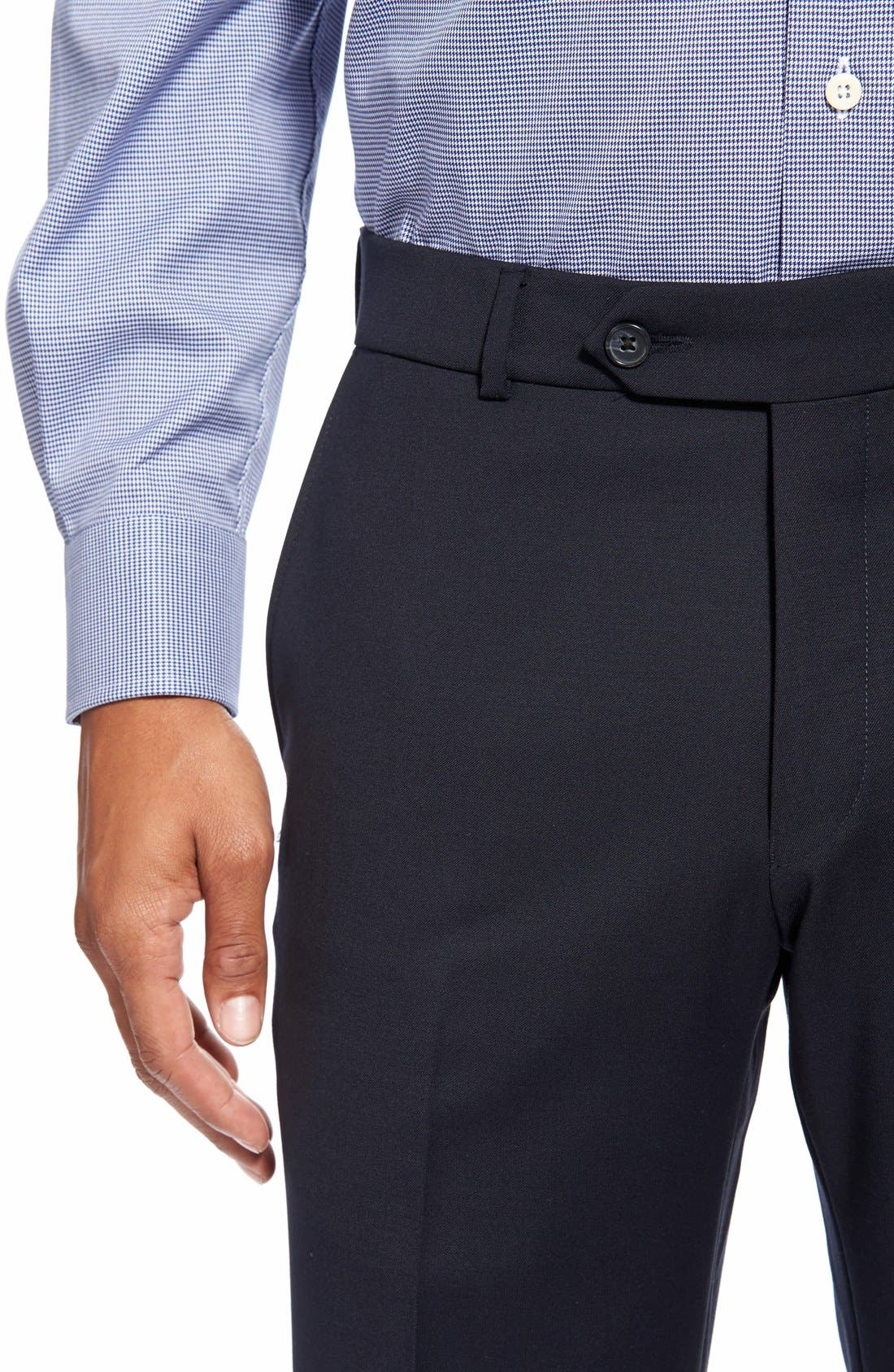 Flat Front Solid Wool Trousers,                             Alternate thumbnail 5, color,                             Navy