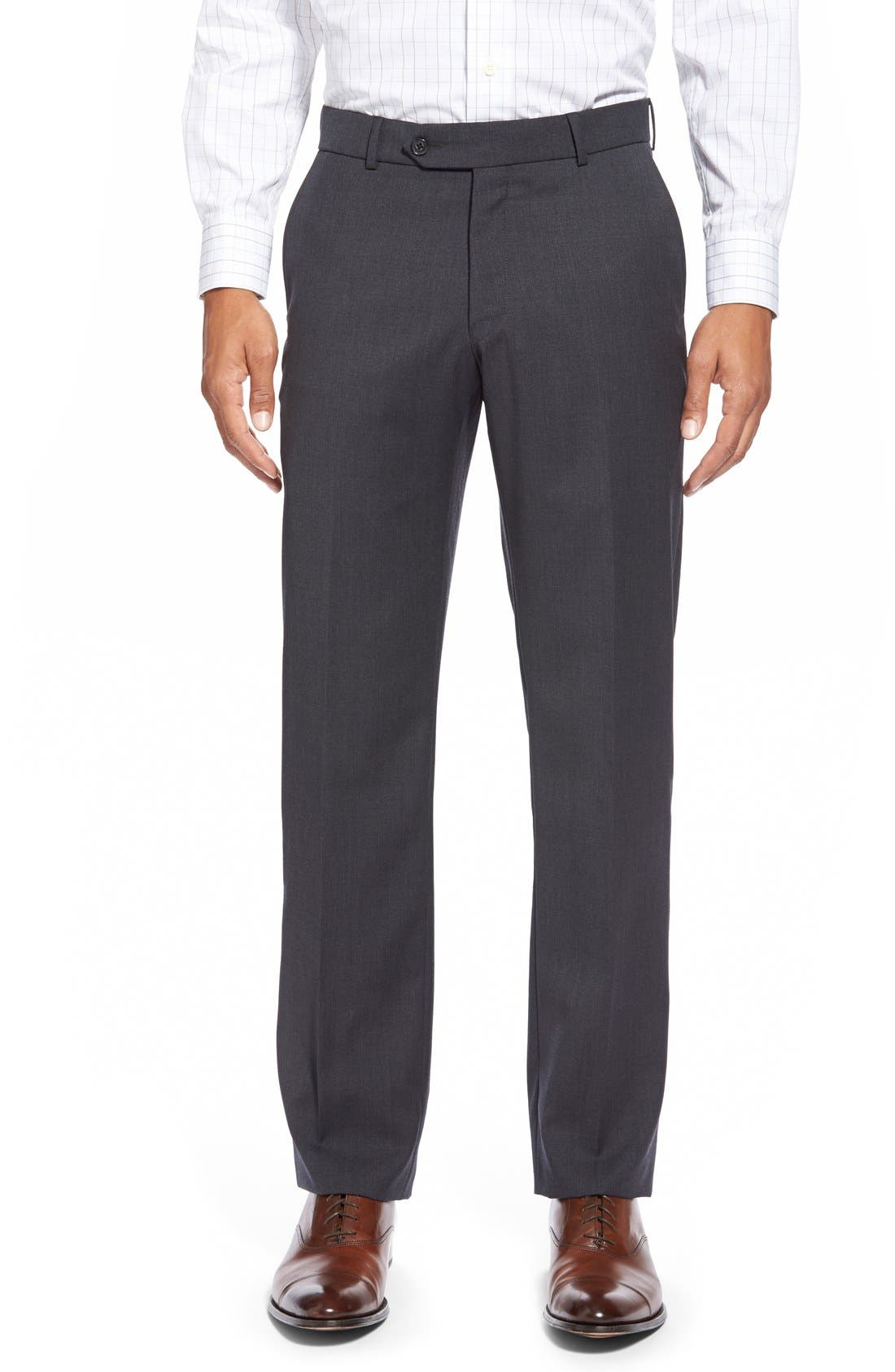 BALLIN Flat Front Solid Wool Trousers in Charcoal