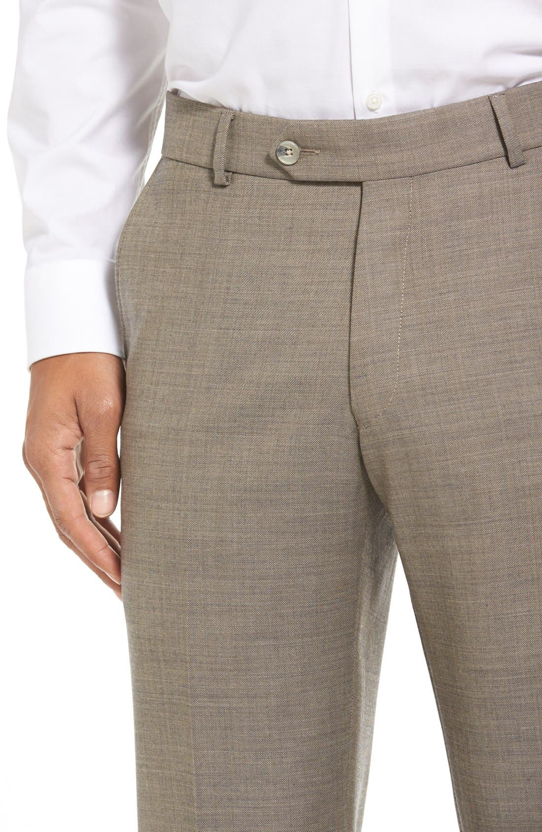 Flat Front Sharkskin Wool Trousers,                             Alternate thumbnail 5, color,                             British Tan