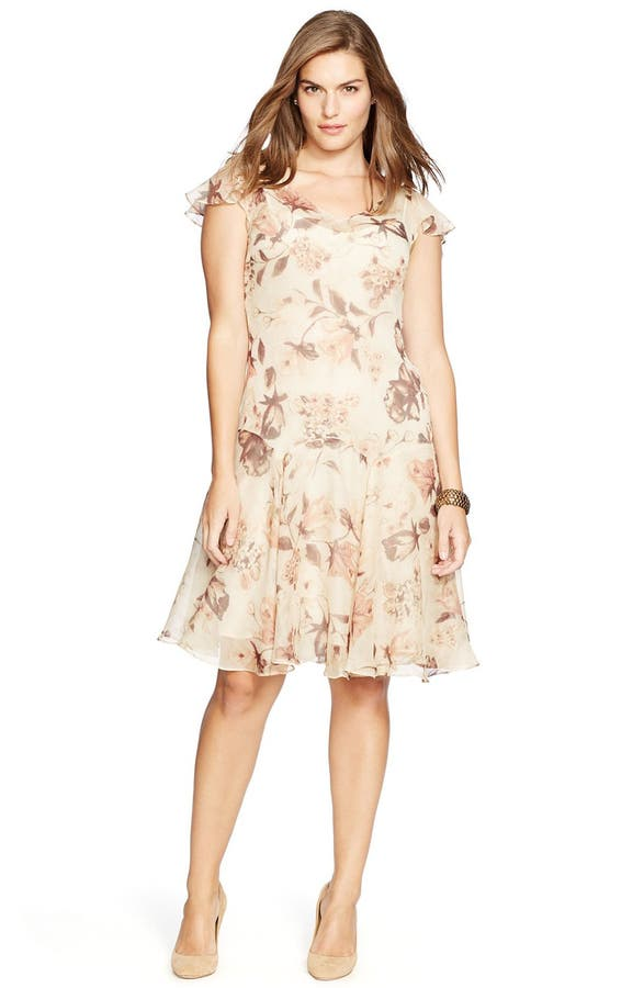 Lauren Ralph Lauren Floral Print Drop Waist Dress Plus Size