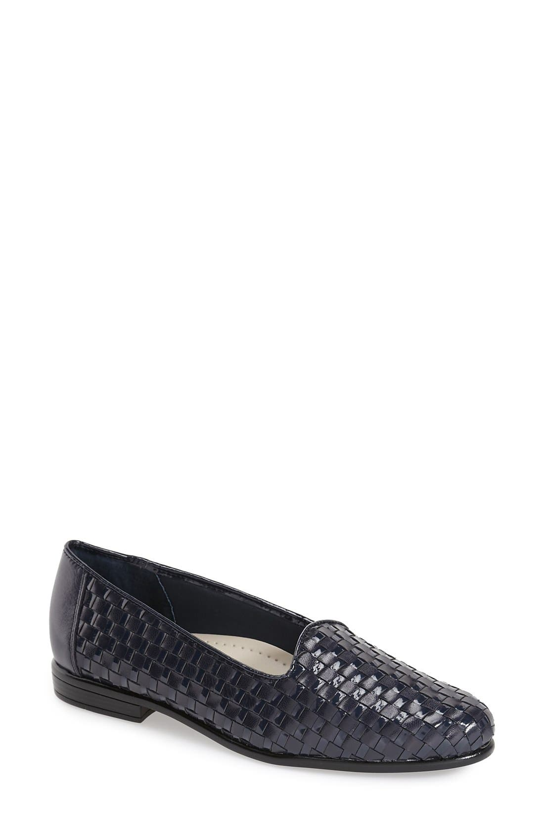 Slip-On,                             Main thumbnail 1, color,                             Navy Leather/ Navy Patent
