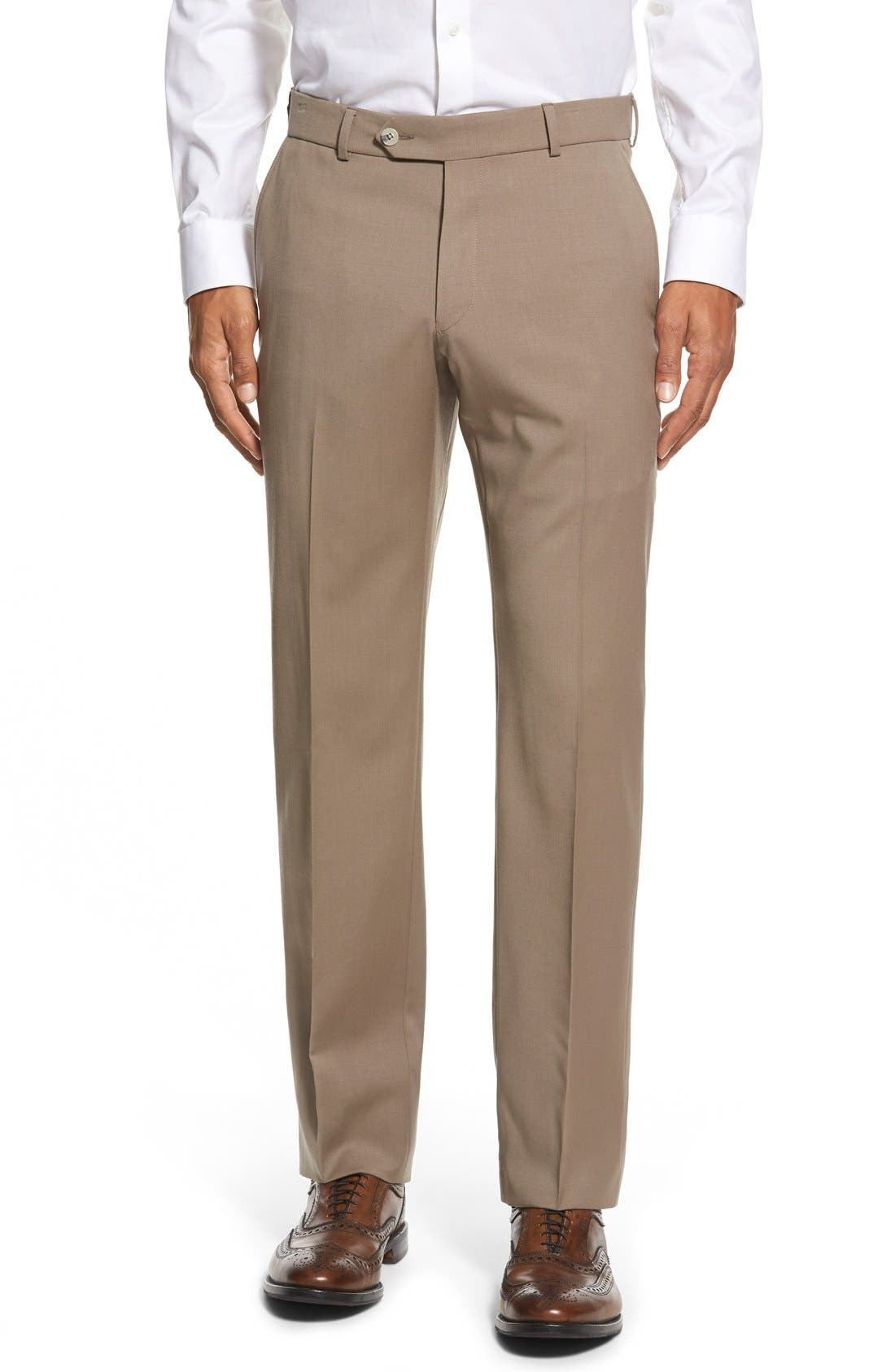 BALLIN Flat Front Solid Wool Trousers in British Tan