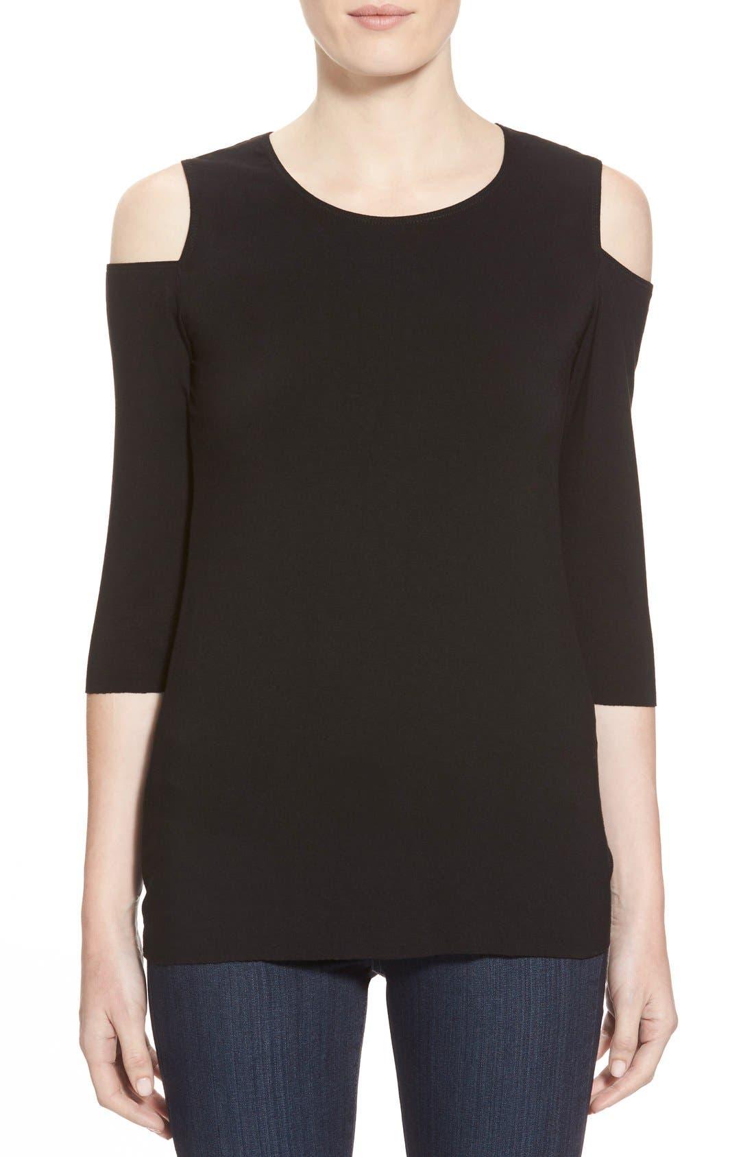 'Deneuve' Cold Shoulder Top,                         Main,                         color, Black