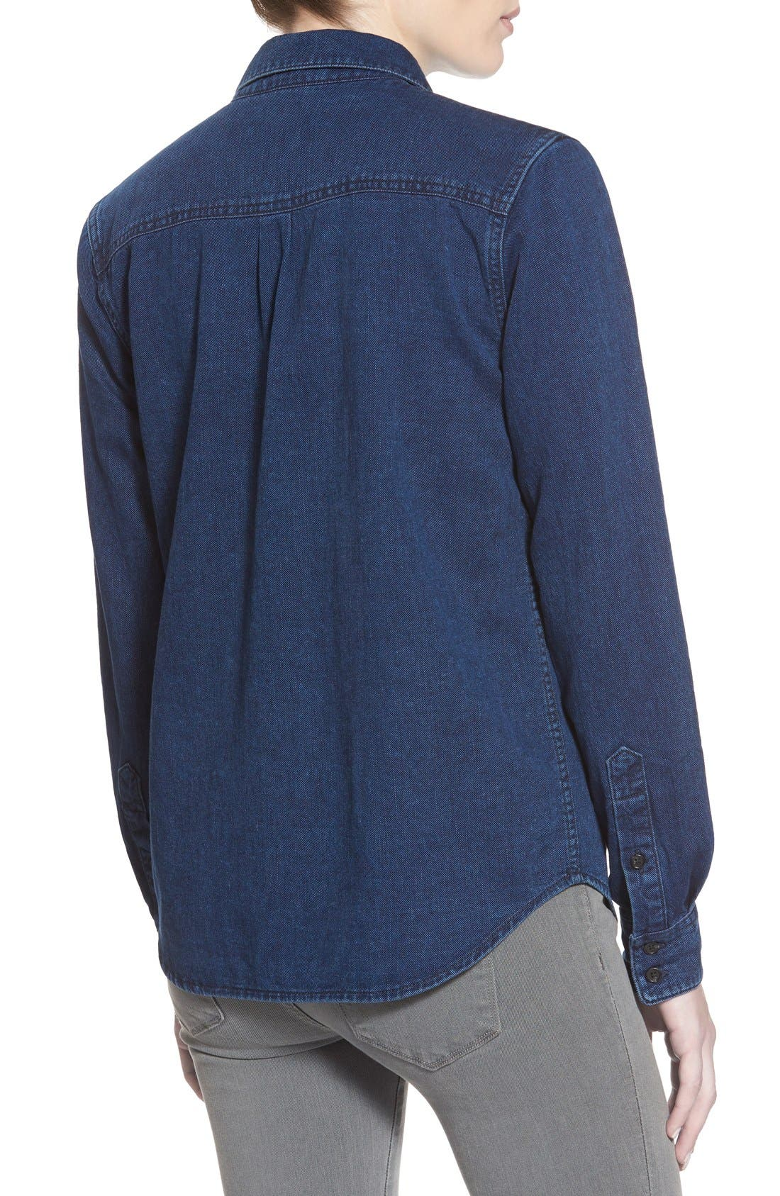 'Collector's - Leigh' Denim Shirt,                             Alternate thumbnail 2, color,                             Medium Wash