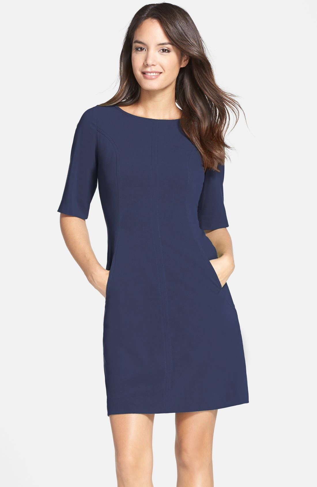 Seamed A-Line Dress,                         Main,                         color, Navy