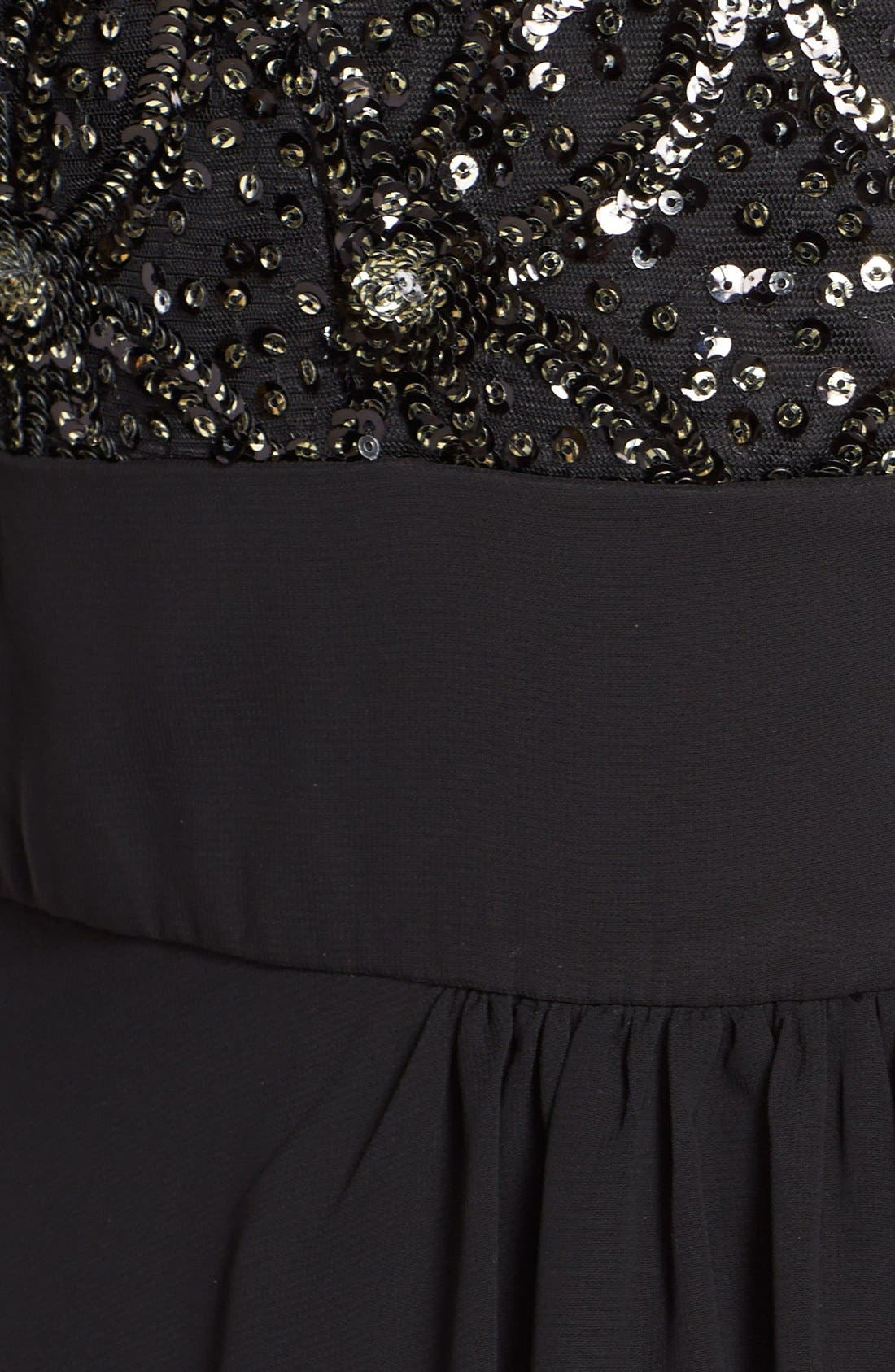 Embellished Tiered Chiffon Fit & Flare Gown,                             Alternate thumbnail 5, color,                             Black/ Grey