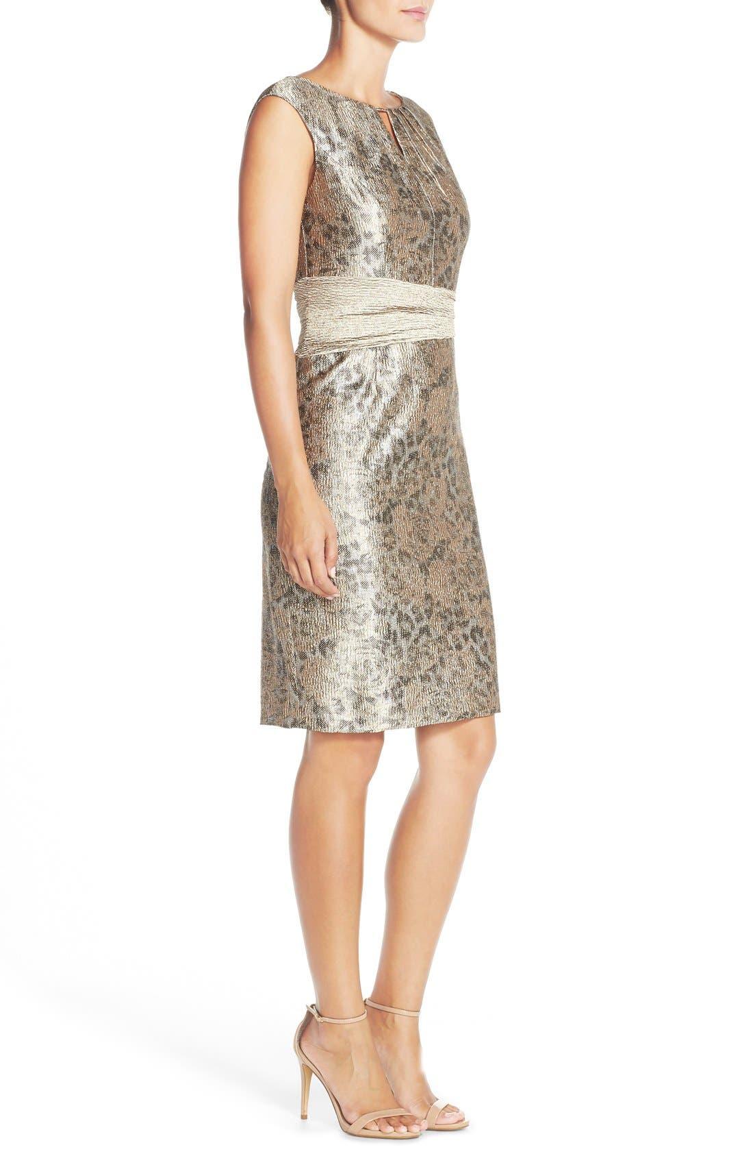 Alternate Image 4  - Ellen Tracy Metallic Jacquard Sheath Dress (Regular & Petite)