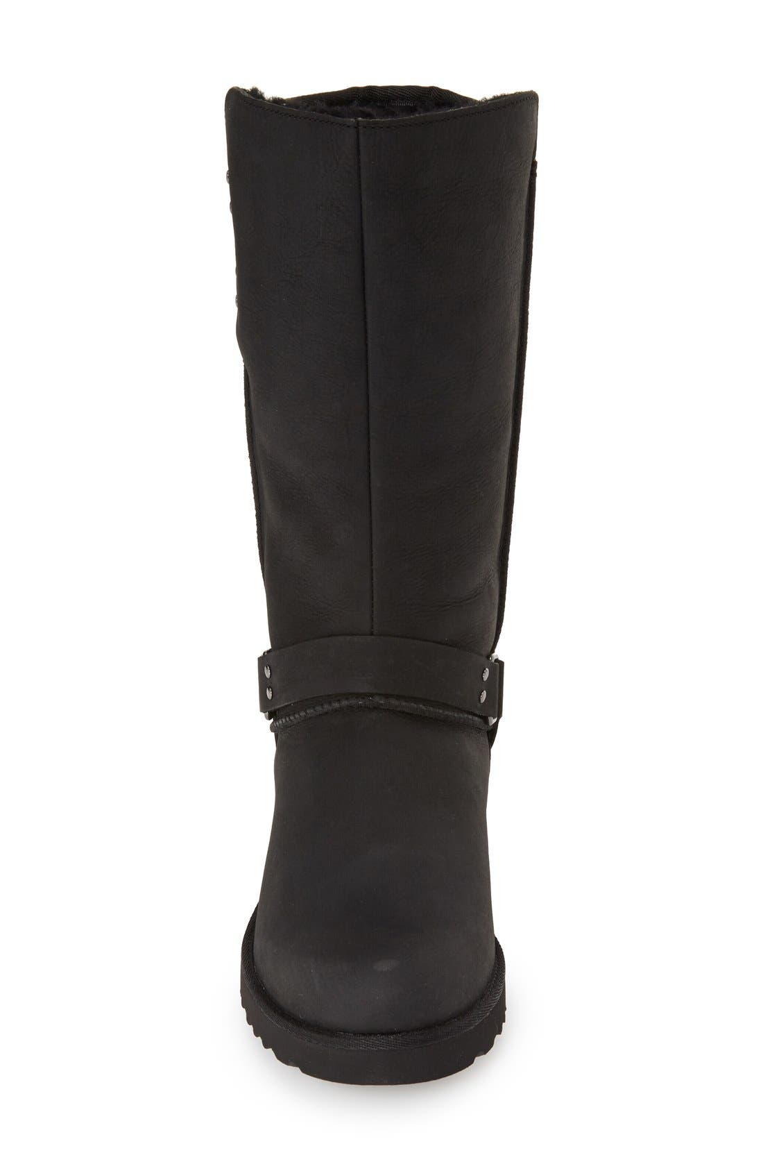 'Jasper' Water Resistant Boot,                             Alternate thumbnail 3, color,                             Black Leather