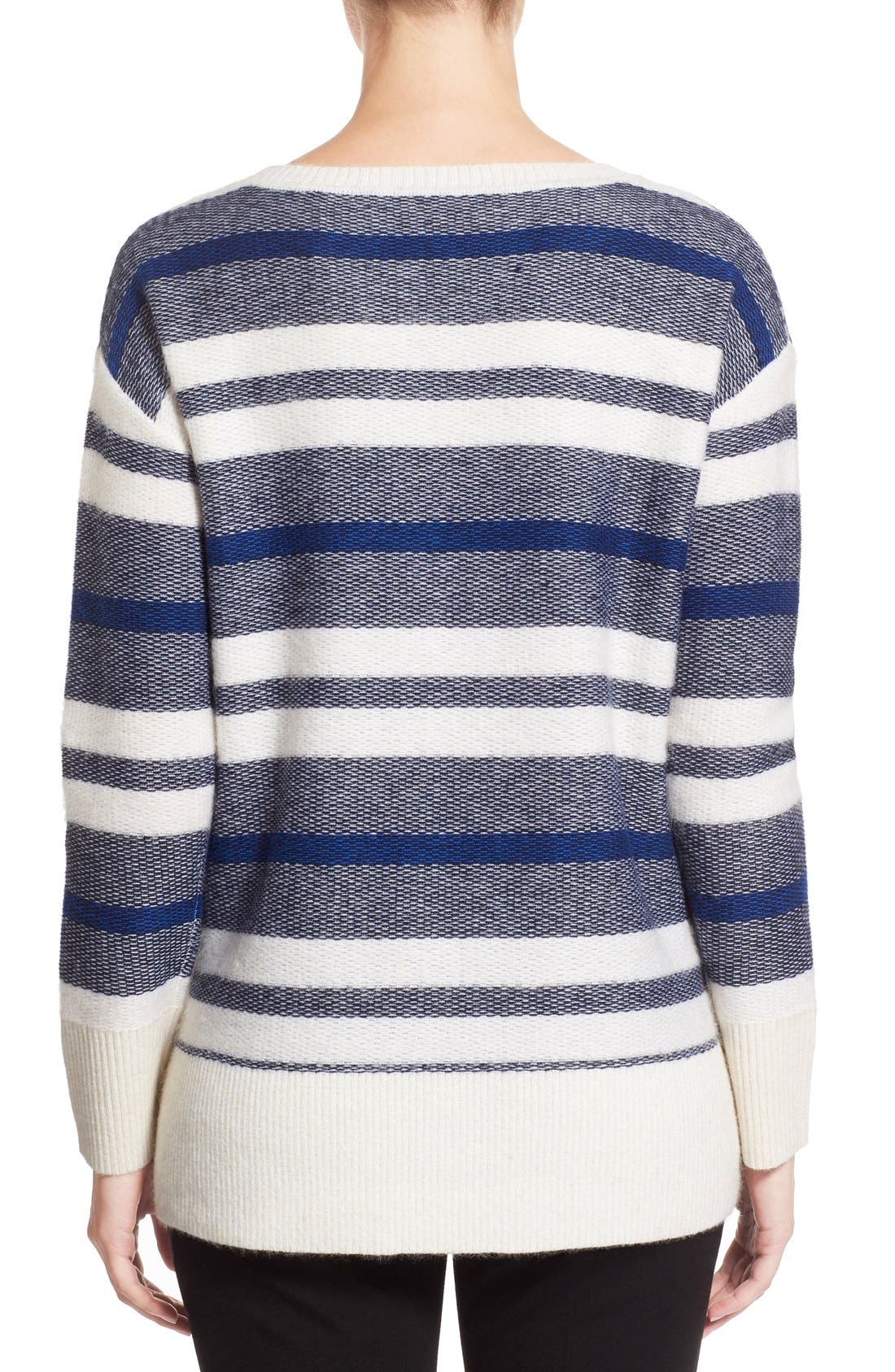 Alternate Image 2  - Nordstrom Collection Stripe Wool Blend Pullover