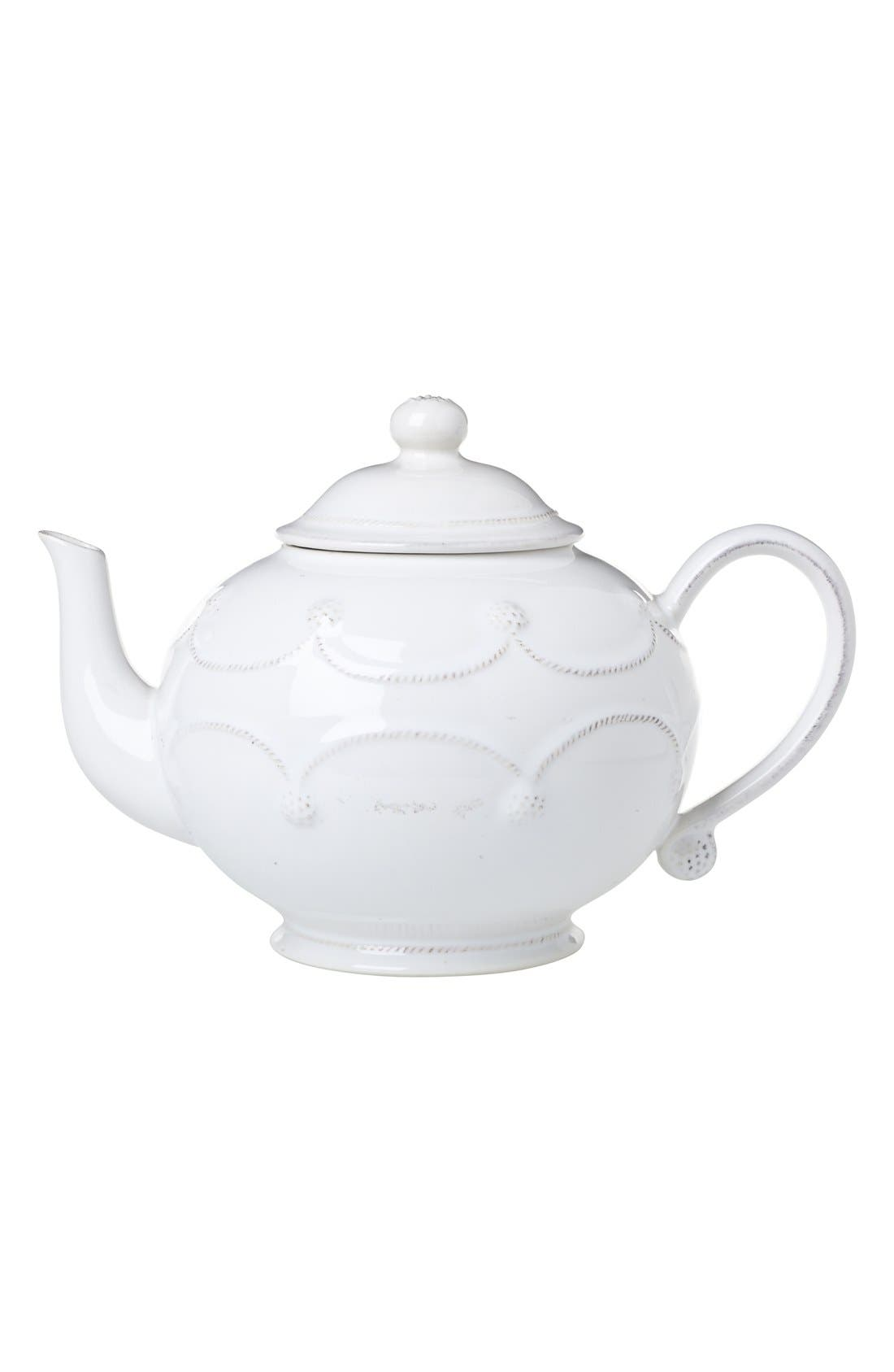 'Berry and Thread' Ceramic Teapot,                         Main,                         color, Whitewash