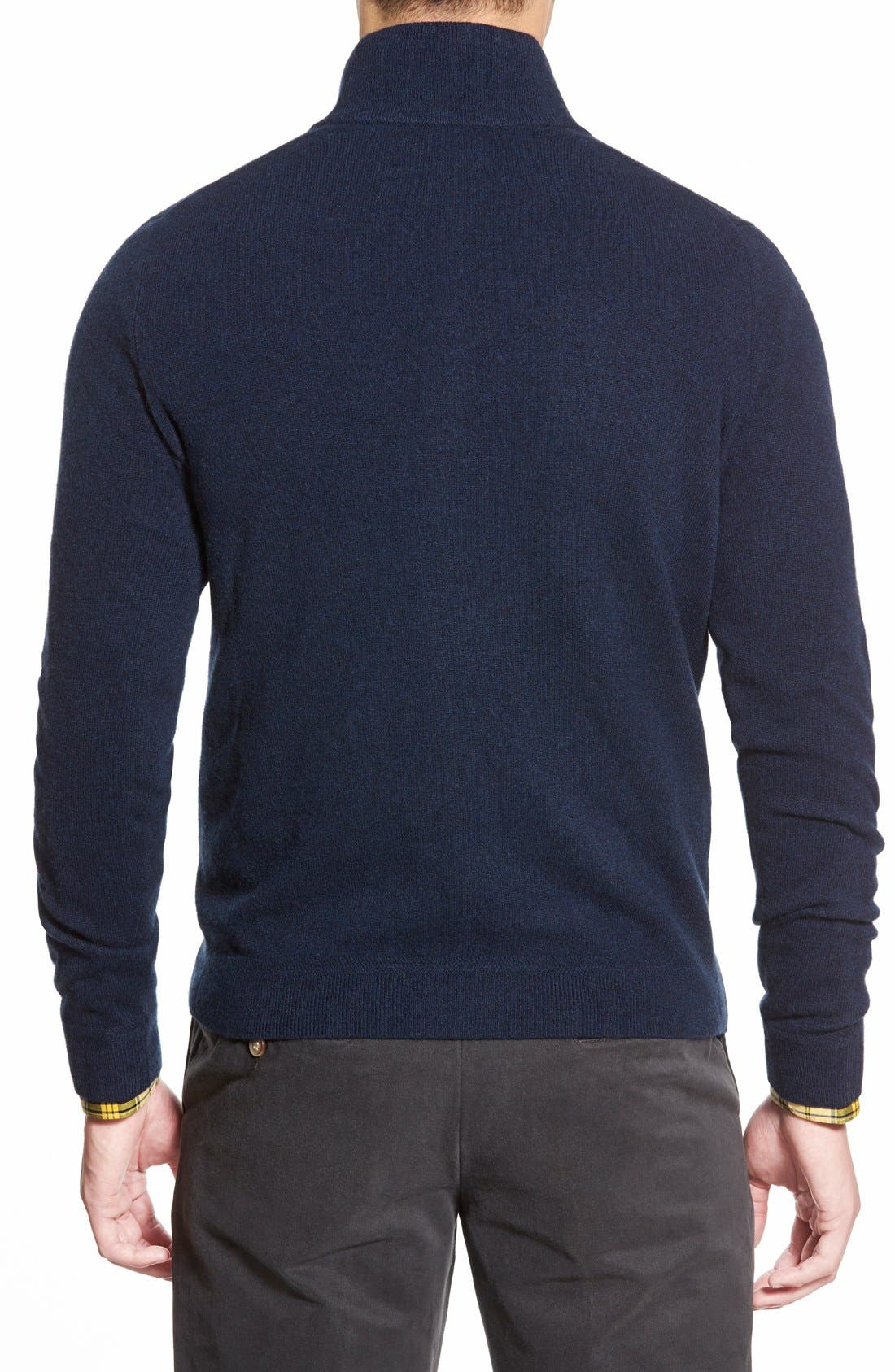 Quarter Zip Cashmere Sweater,                             Alternate thumbnail 2, color,                             Blue Estate Heather