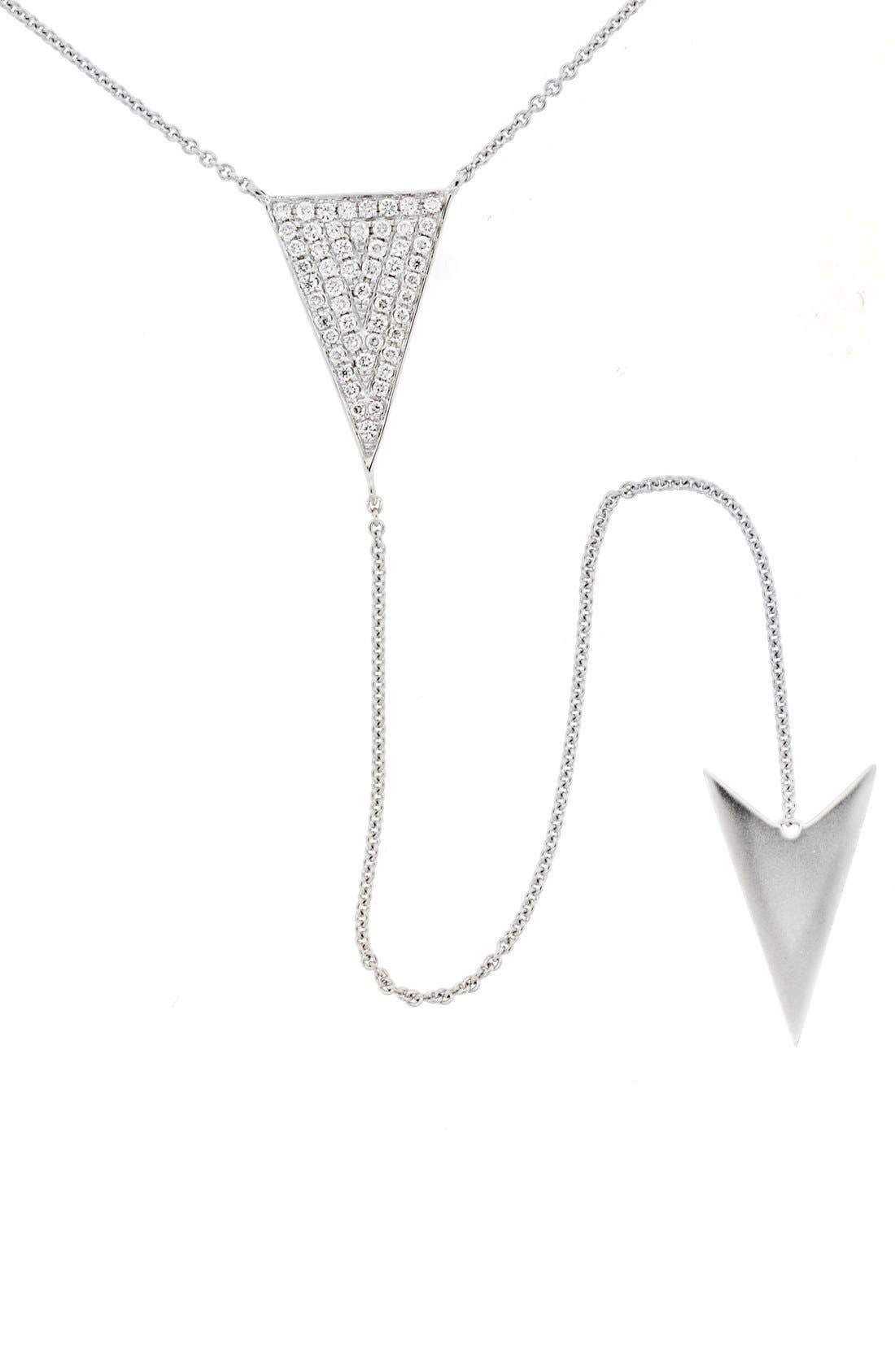 Diamond Y-Necklace,                         Main,                         color, White Gold