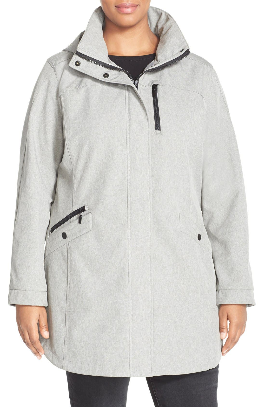 Kristen Blake Crossdye Hooded Soft Shell Jacket (Plus Size)