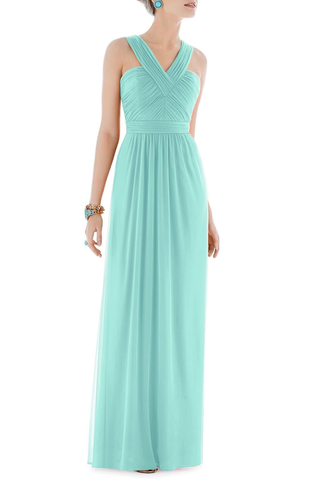 Shirred Chiffon V-Neck Gown,                             Main thumbnail 1, color,                             Coastal