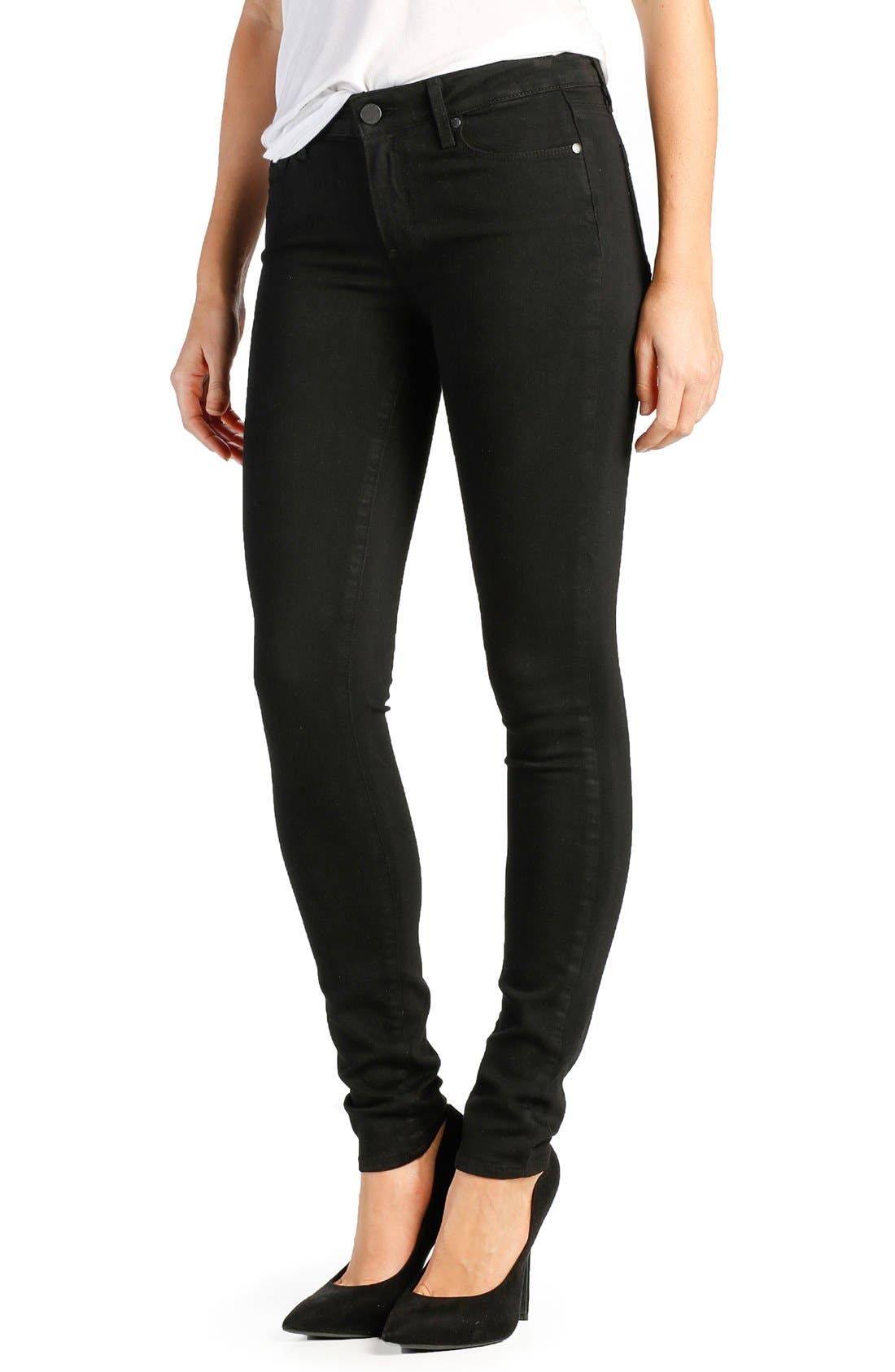 PAIGE Transcend - Leggy Ultra Skinny Jeans (Black Shadow) (Long)