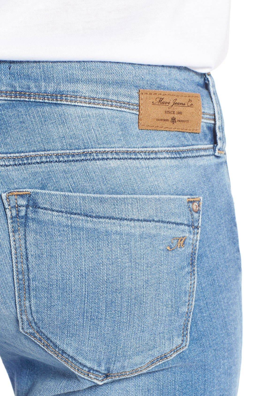 'Peace' Stretch Flare Leg Jeans,                             Alternate thumbnail 4, color,                             Light Ripped