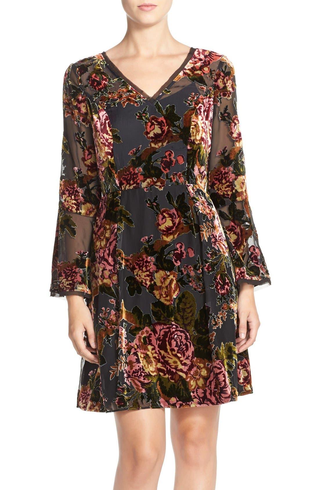 Alternate Image 1 Selected - KUTfrom the KlothBurnout Velvet Fit & Flare Dress