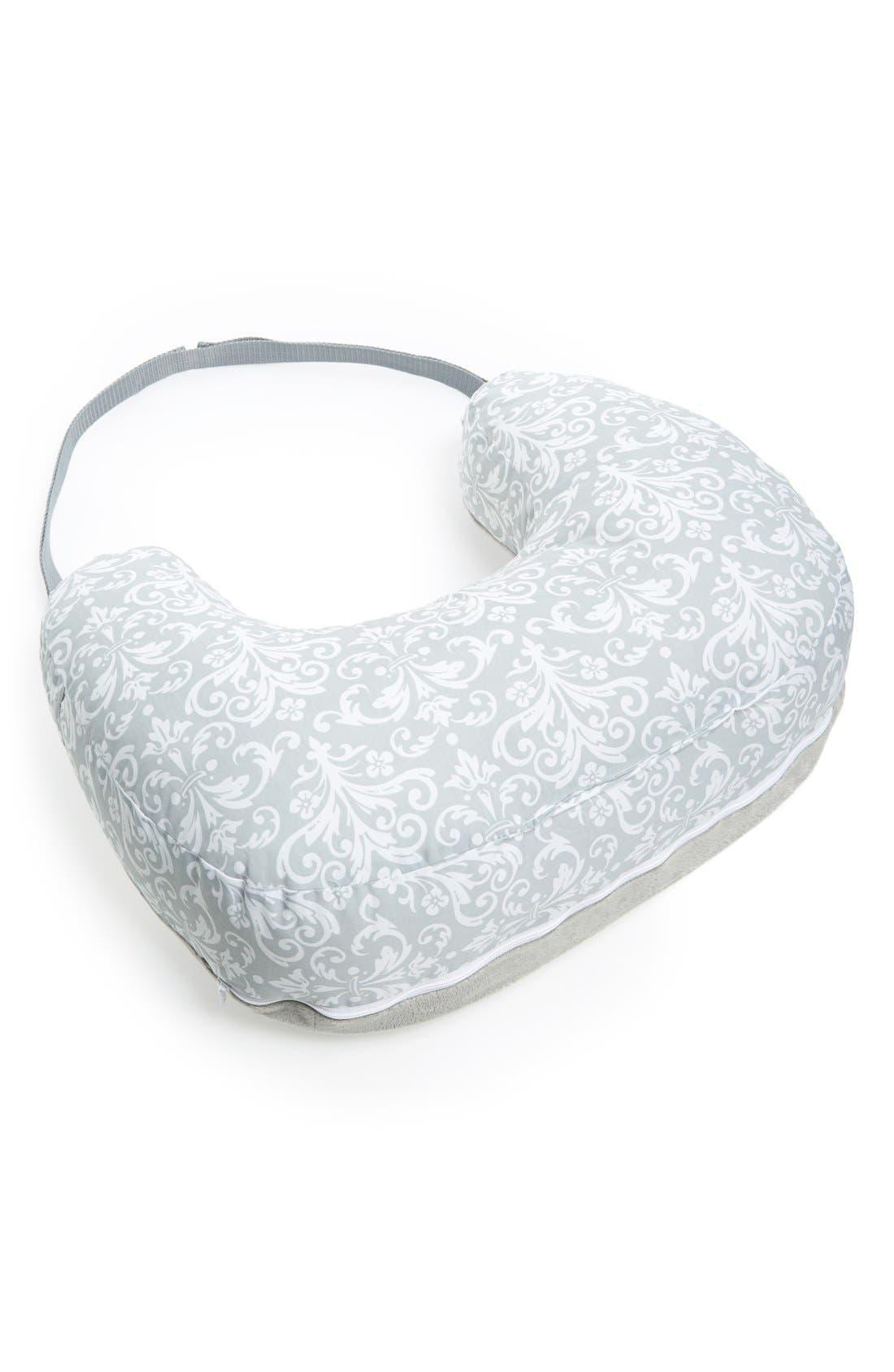 Two Sided Breastfeeding Pillow & Slipcover,                             Main thumbnail 1, color,                             Kensington Grey