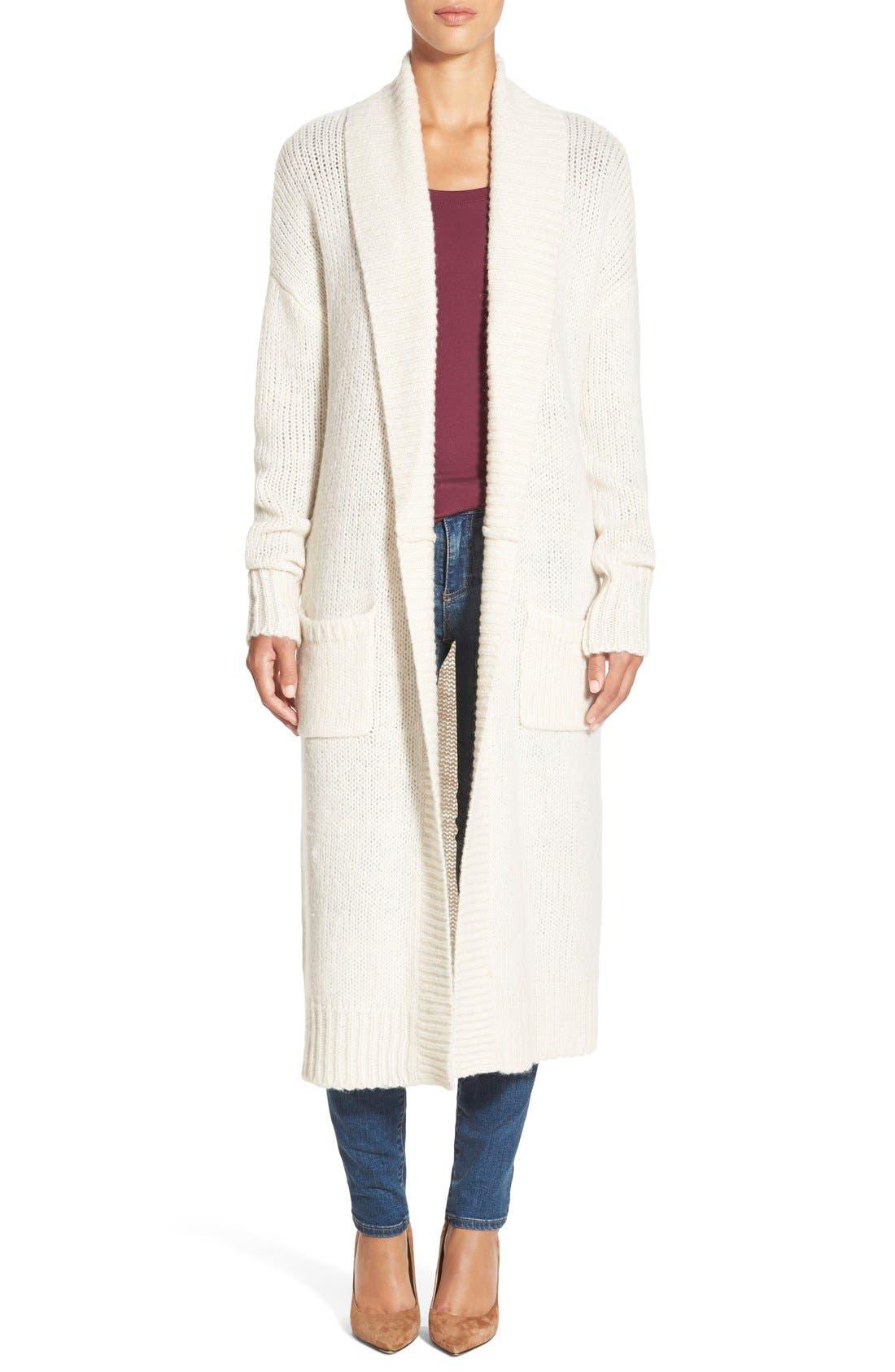 Long Merino Wool Blend Cardigan,                             Main thumbnail 1, color,                             Heather Oatmeal