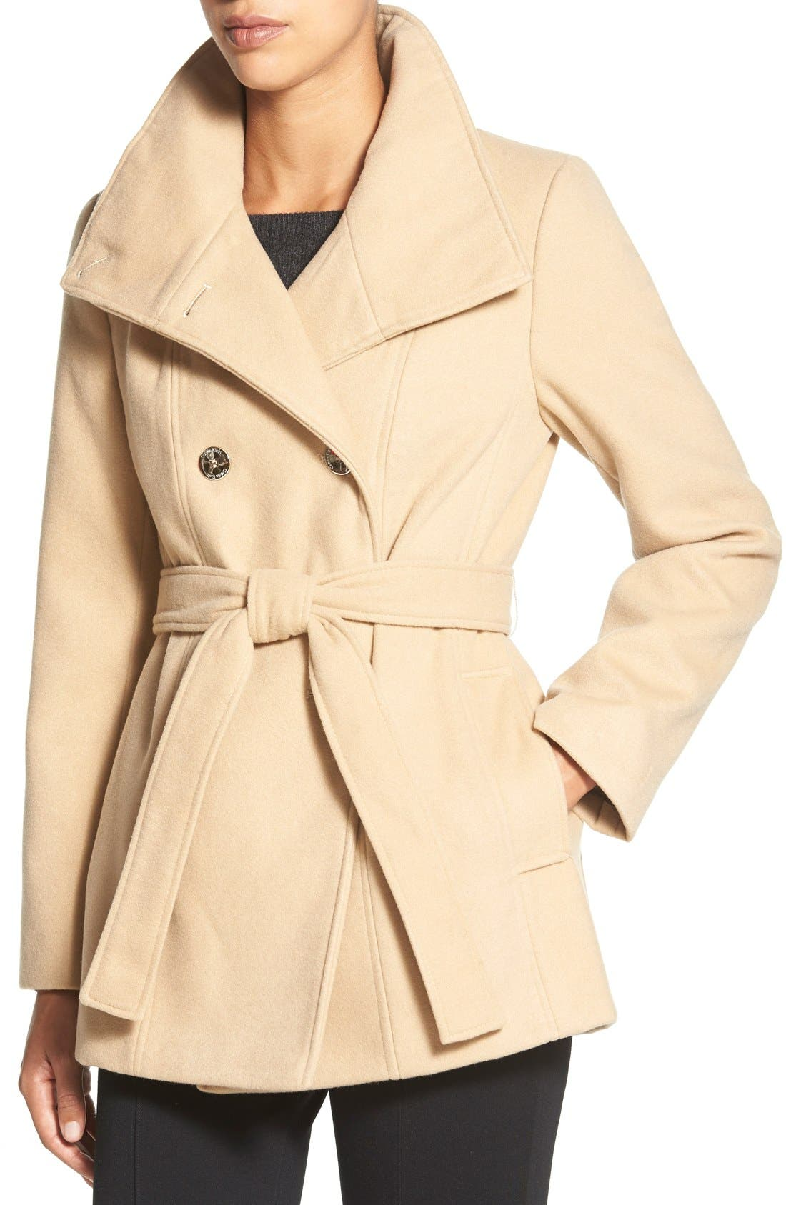 Alternate Image 4  - Calvin Klein Belted Double Breasted Coat (Petite)