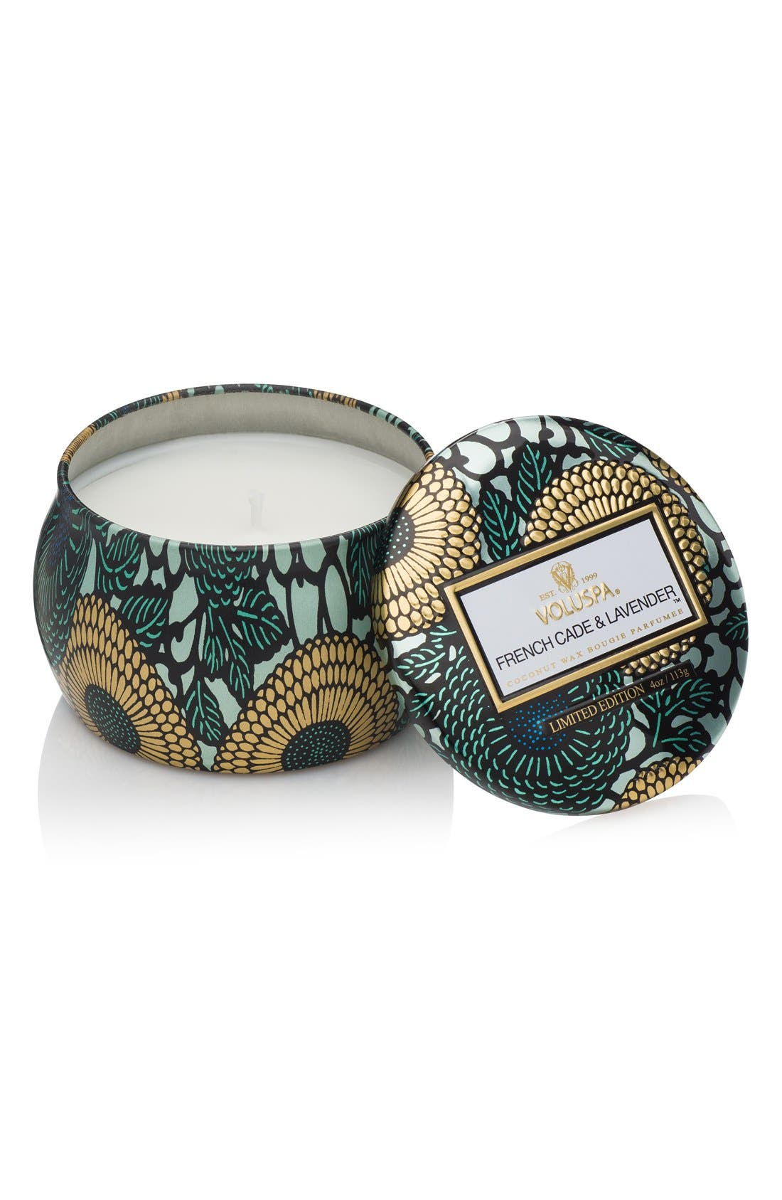Japonica French Cade Lavender Petite Decorative Tin Candle,                         Main,                         color, No Color