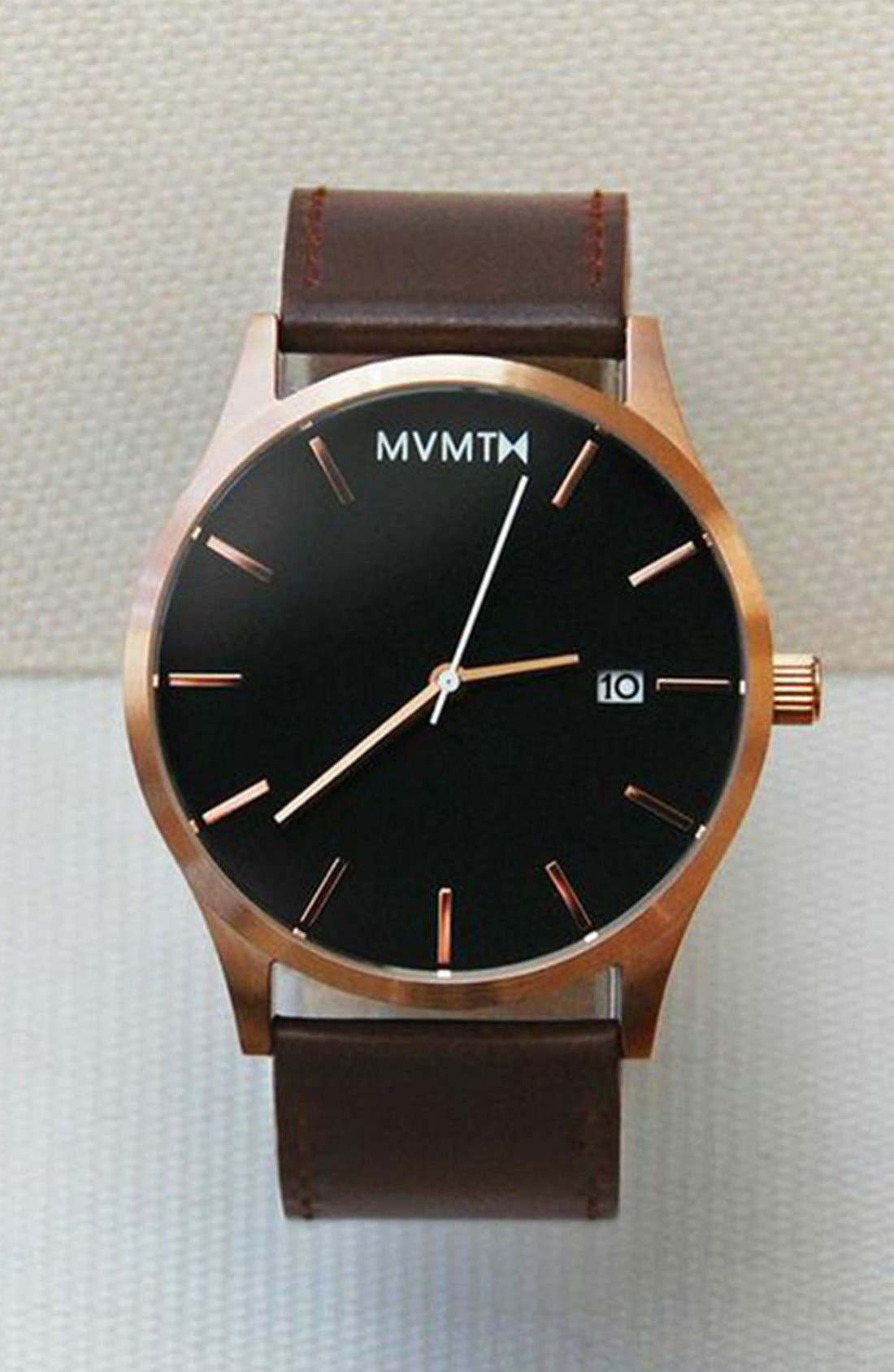 Leather Strap Watch, 45mm,                             Alternate thumbnail 4, color,                             Brown/ Rose Gold