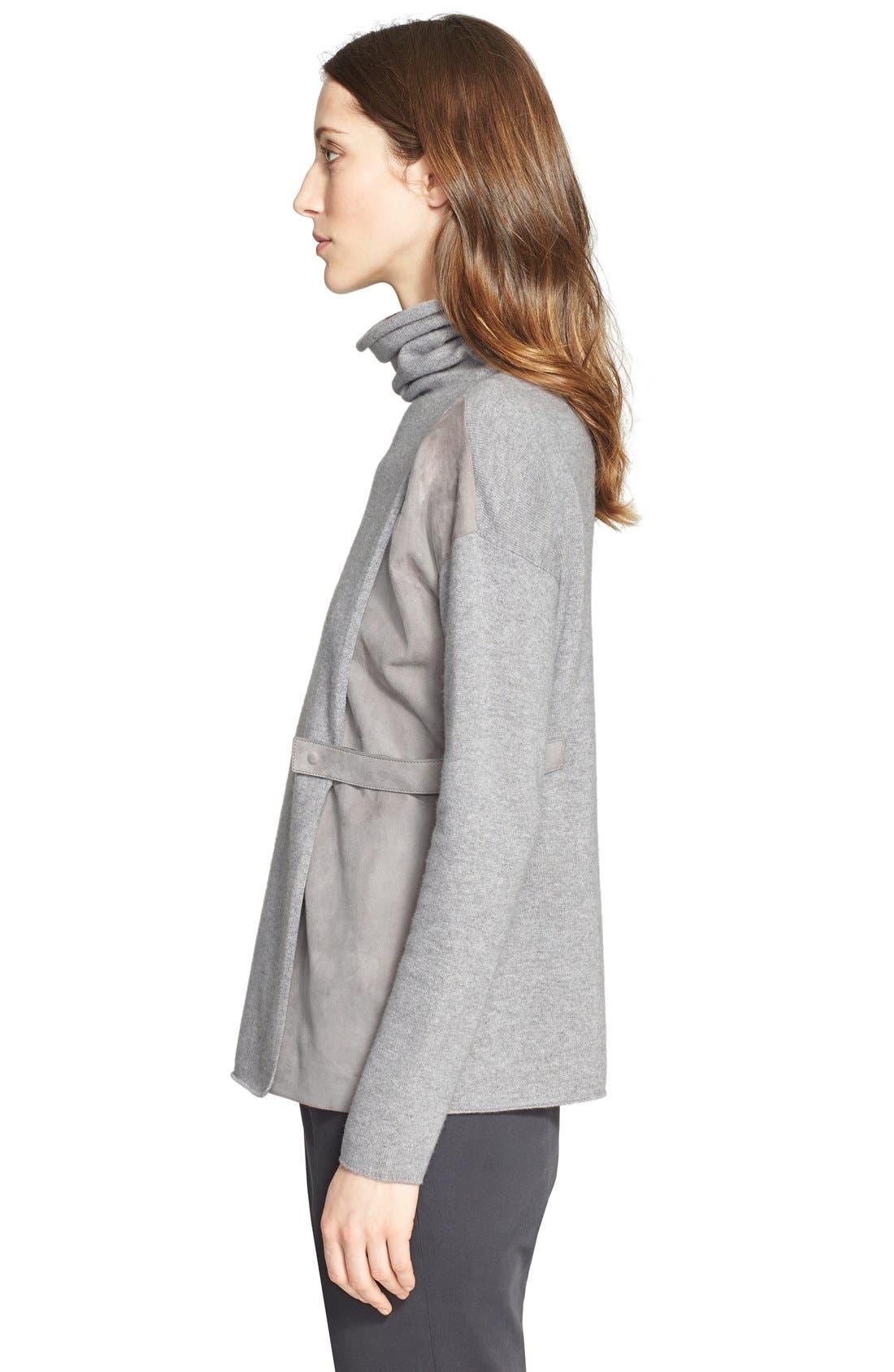 Alternate Image 4  - Fabiana Filippi Suede Contrast Wool Blend Turtleneck Sweater